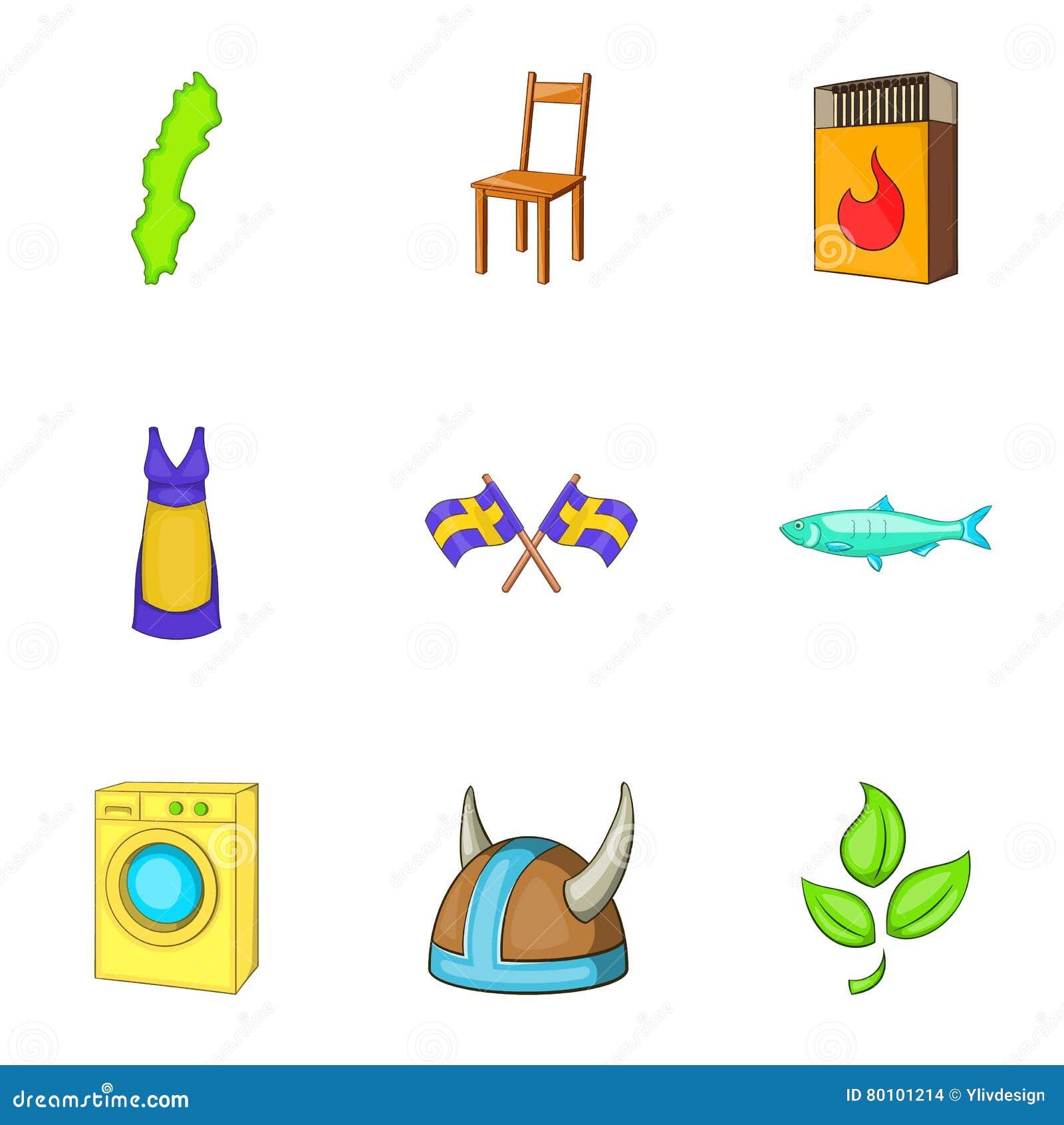 Ícones ajustados, estilo da Suécia dos desenhos animados