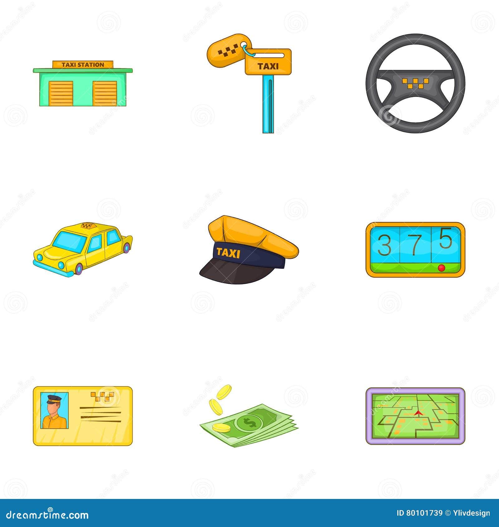 Ícones ajustados, estilo da viagem do táxi dos desenhos animados