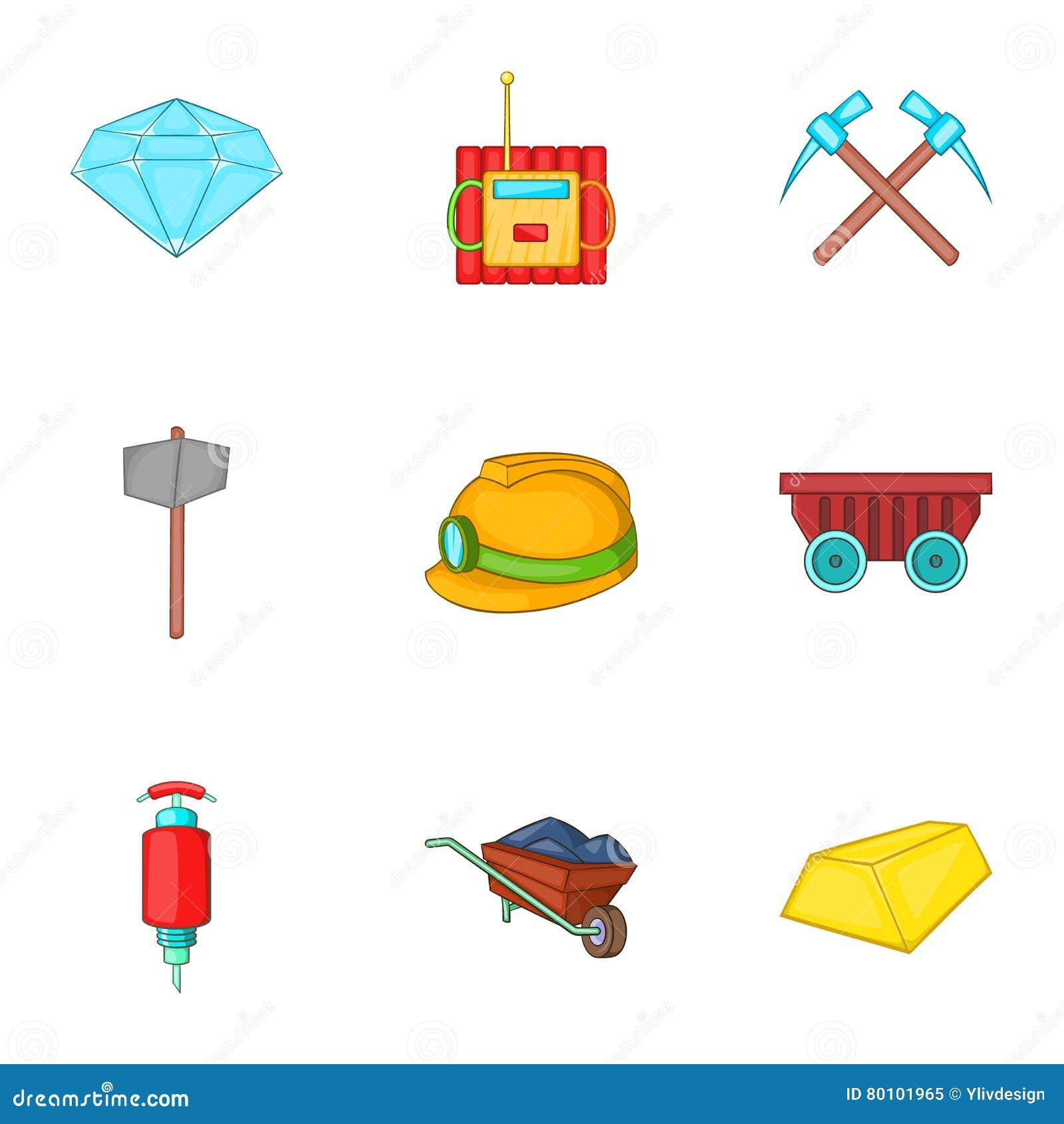 Ícones ajustados, estilo das atividades da mineração dos desenhos animados