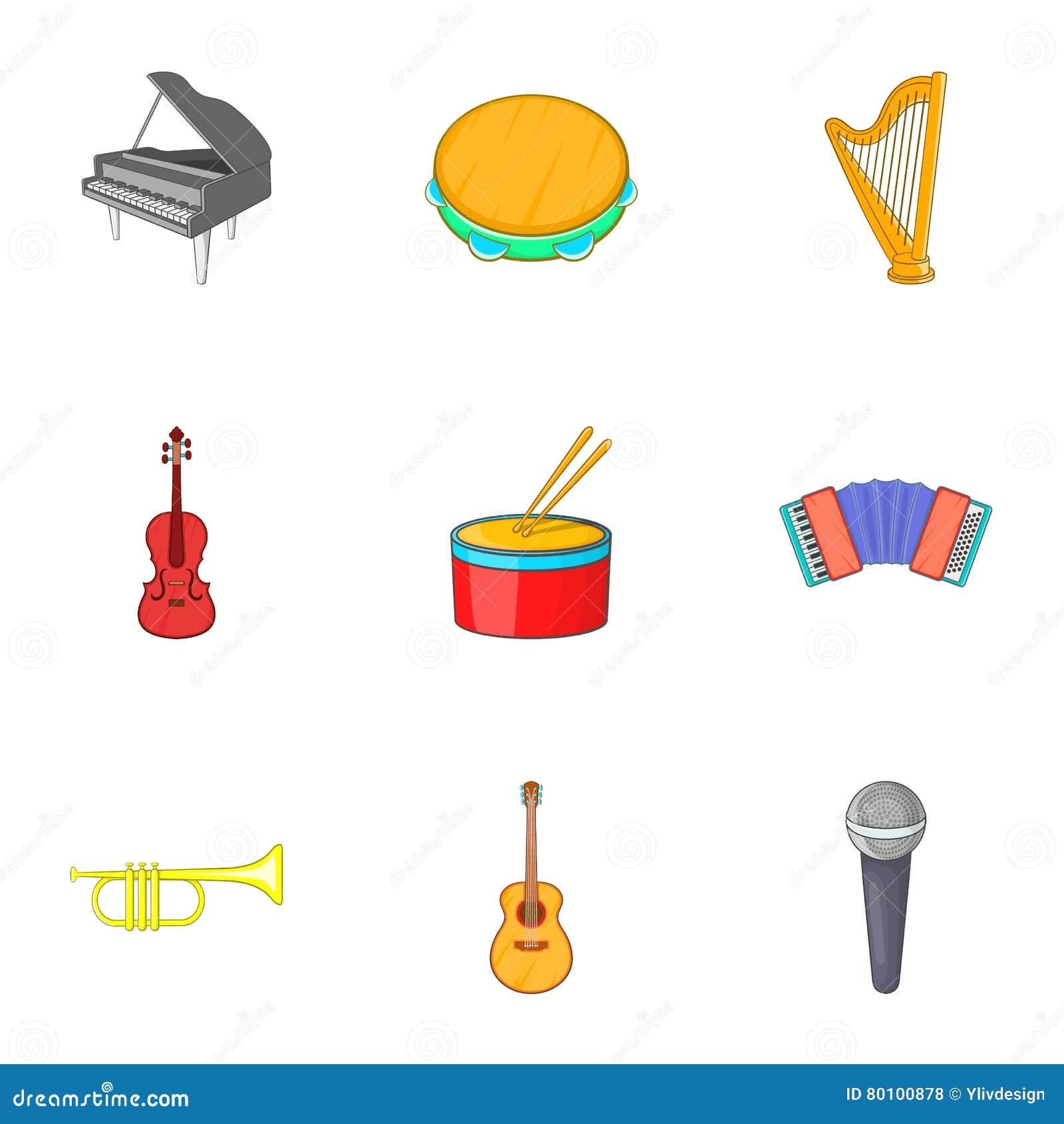 Ícones ajustados, estilo das ferramentas do Musical dos desenhos animados