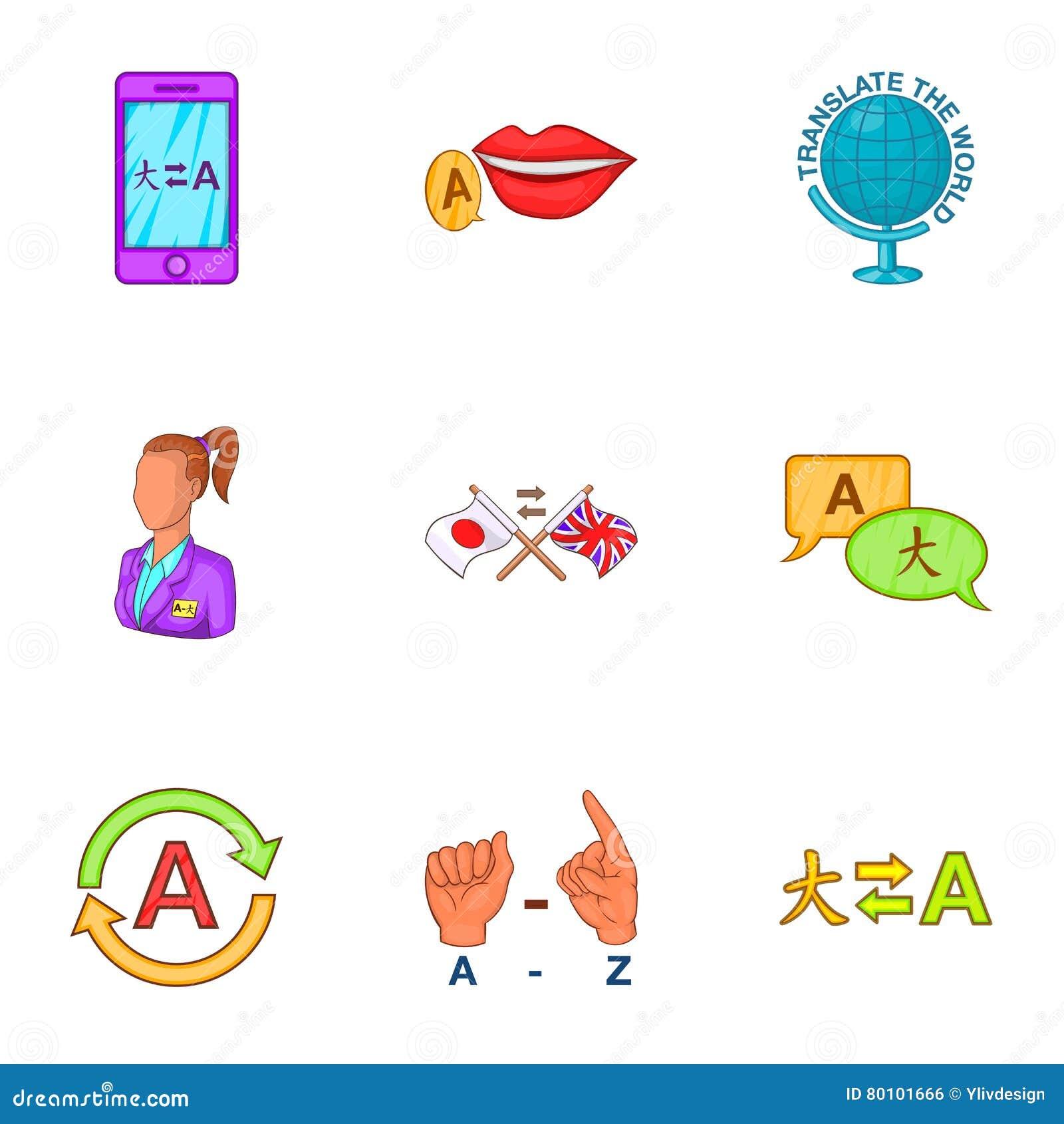 Ícones ajustados, estilo das línguas dos desenhos animados