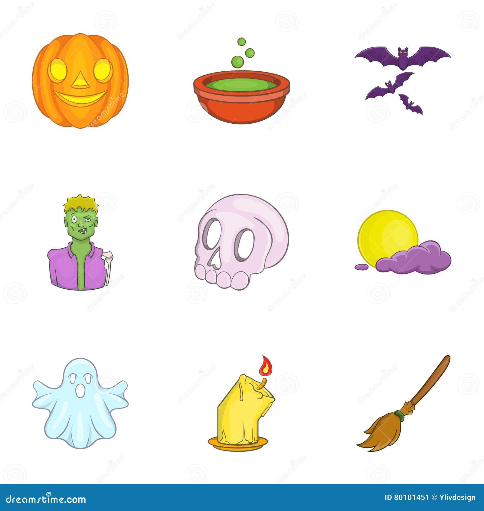 Ícones ajustados, estilo de Dia das Bruxas dos desenhos animados