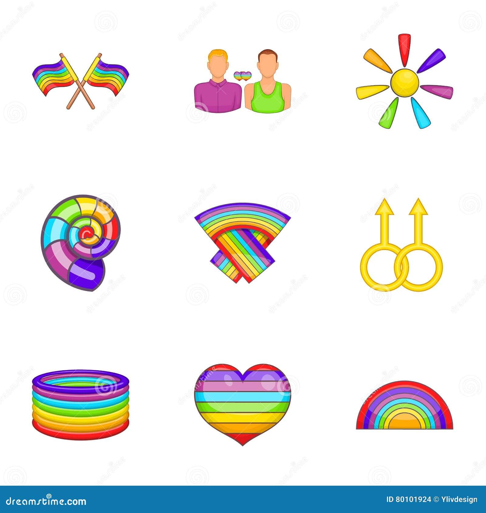 Ícones ajustados, estilo de LGBT dos desenhos animados