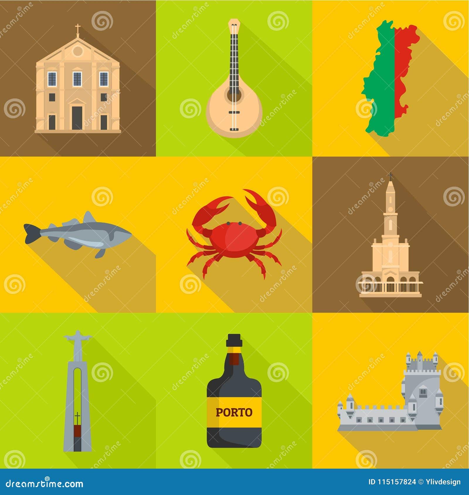 Icones Ajustados Estilo De Portugal Dos Desenhos Animados Ilustracao Do Vetor Ilustracao De Porto Portugal 115157824