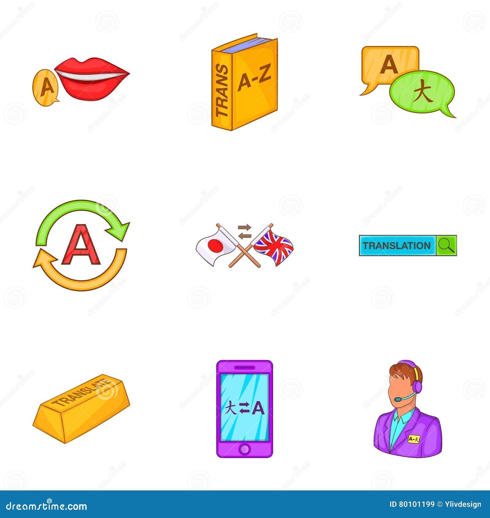 Ícones ajustados, estilo do aprendizado de línguas dos desenhos animados