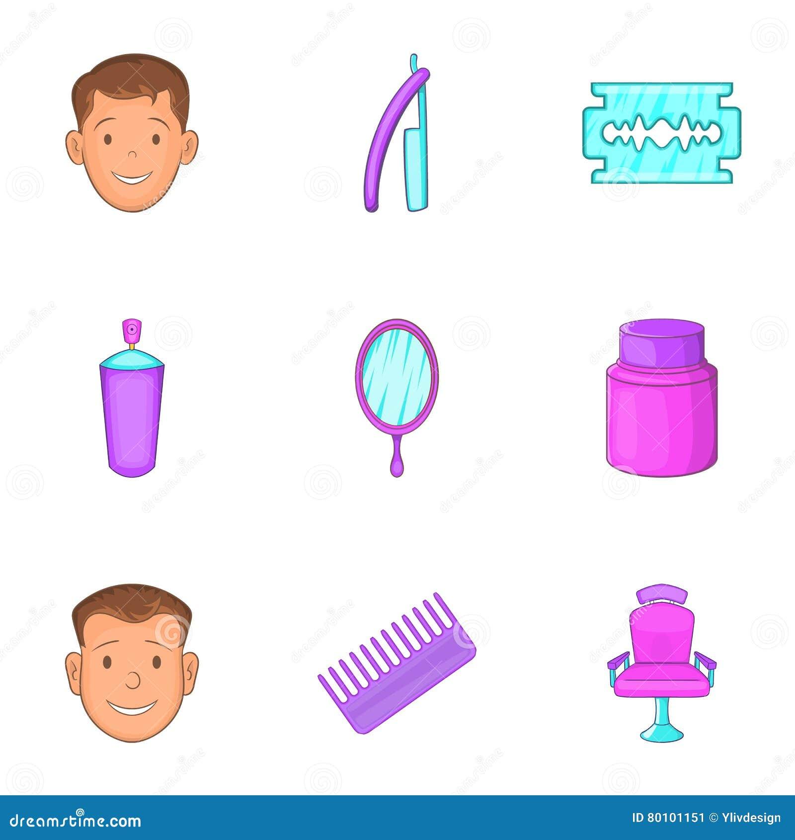 Ícones ajustados, estilo do corte do cabelo dos desenhos animados