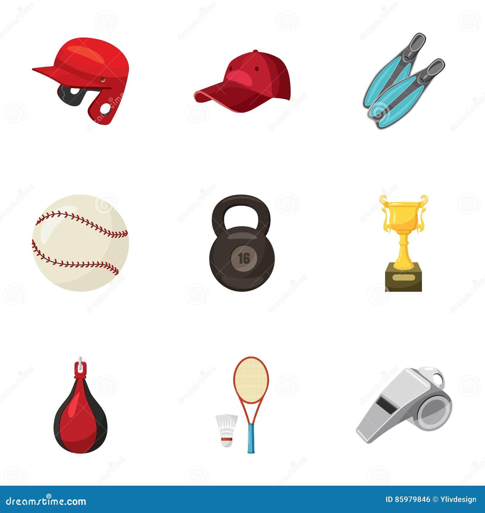 c97e2207e Ícones do exercício do esporte ajustados Ilustração dos desenhos animados  de um exercício de 9 esportes em ícones do vetor do gym para a Web