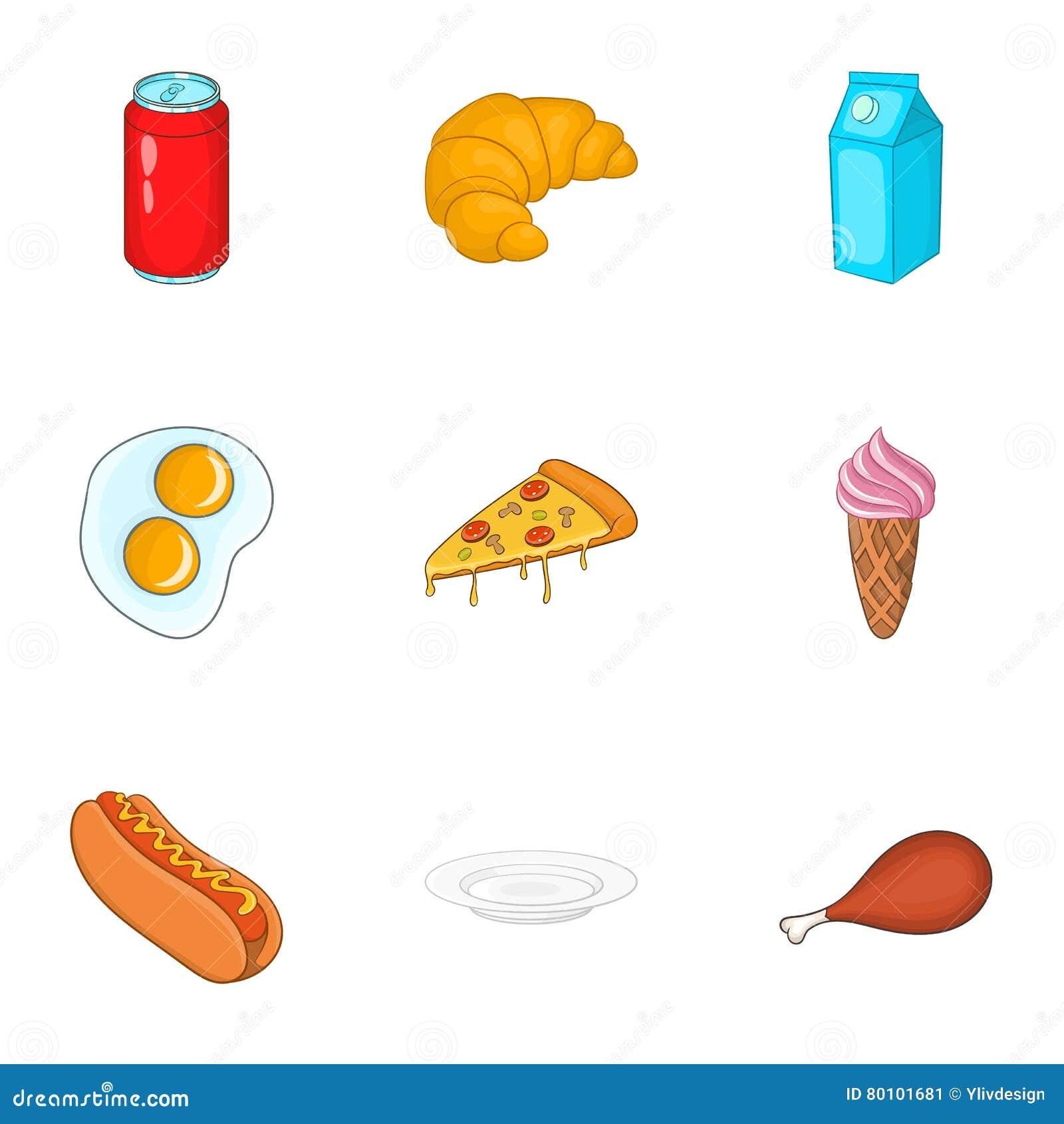 Ícones ajustados, estilo do fast food dos desenhos animados