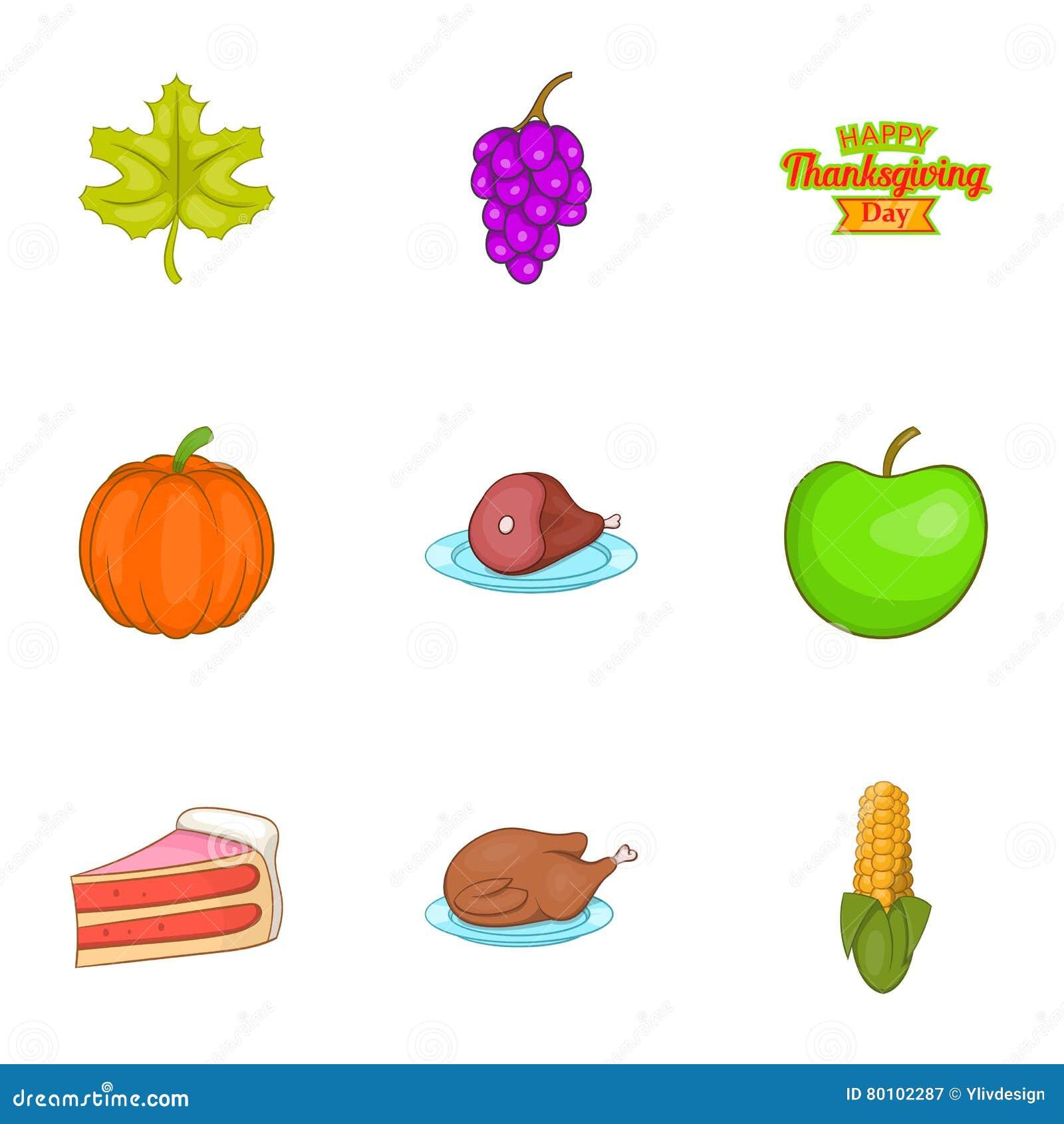 Ícones ajustados, estilo do festival do outono dos desenhos animados