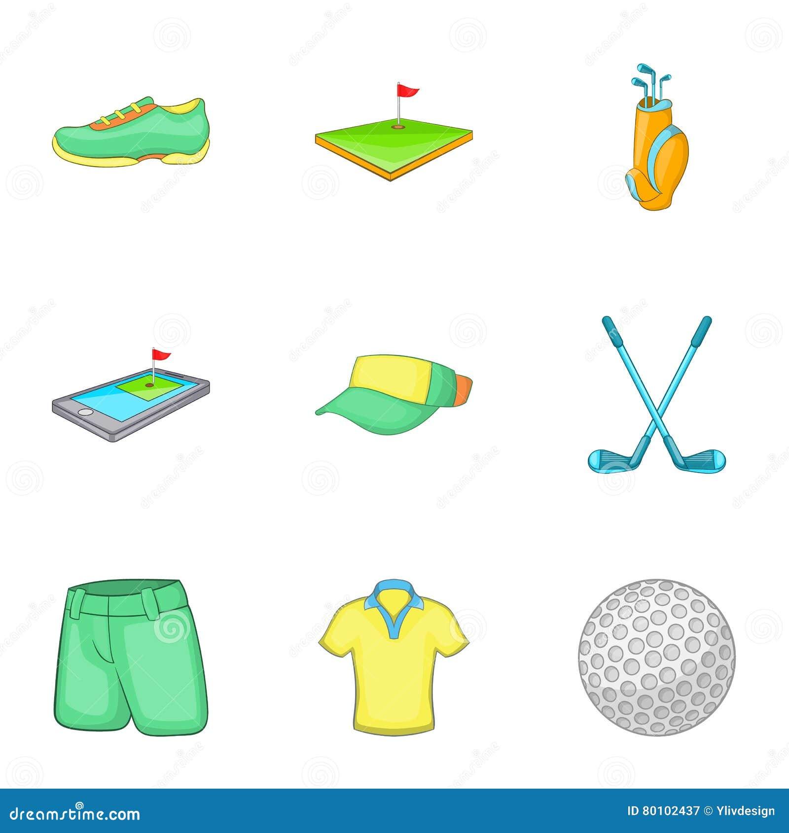 Ícones ajustados, estilo do golfe do esporte dos desenhos animados