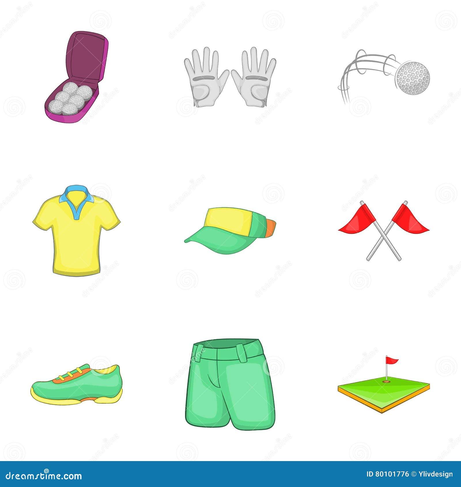 Ícones ajustados, estilo do golfe do treinamento dos desenhos animados