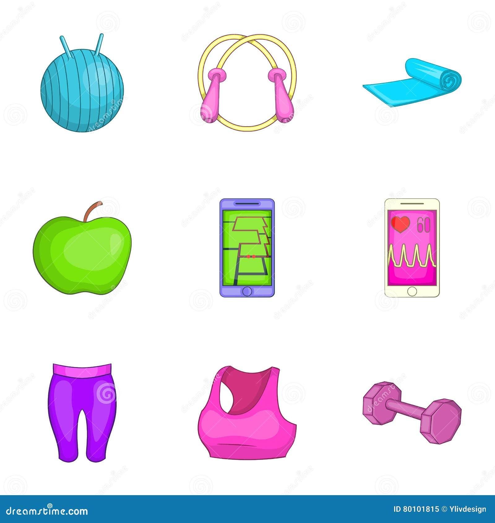 Ícones ajustados, estilo do Gym dos desenhos animados