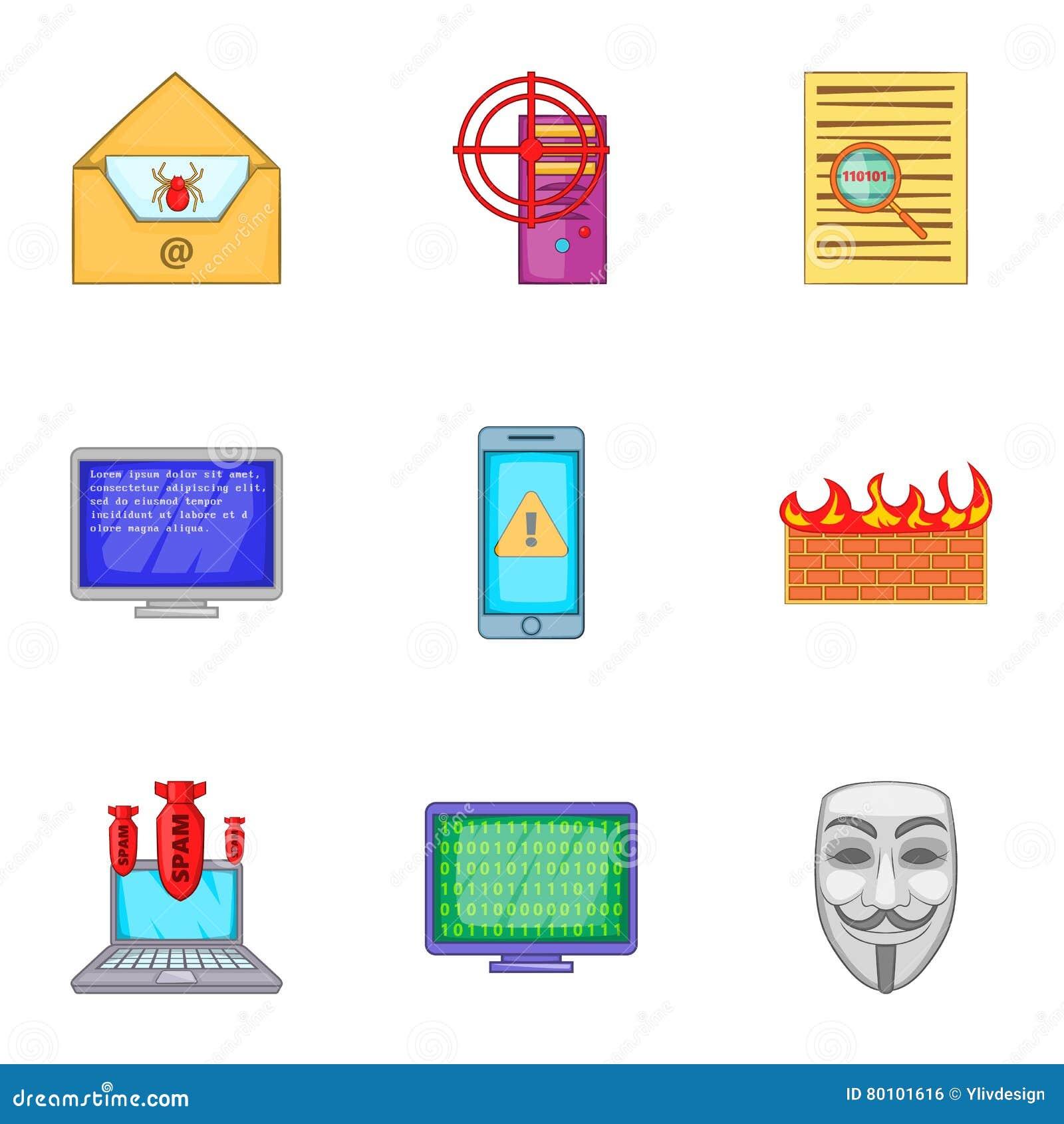Ícones ajustados, estilo do hacker dos desenhos animados