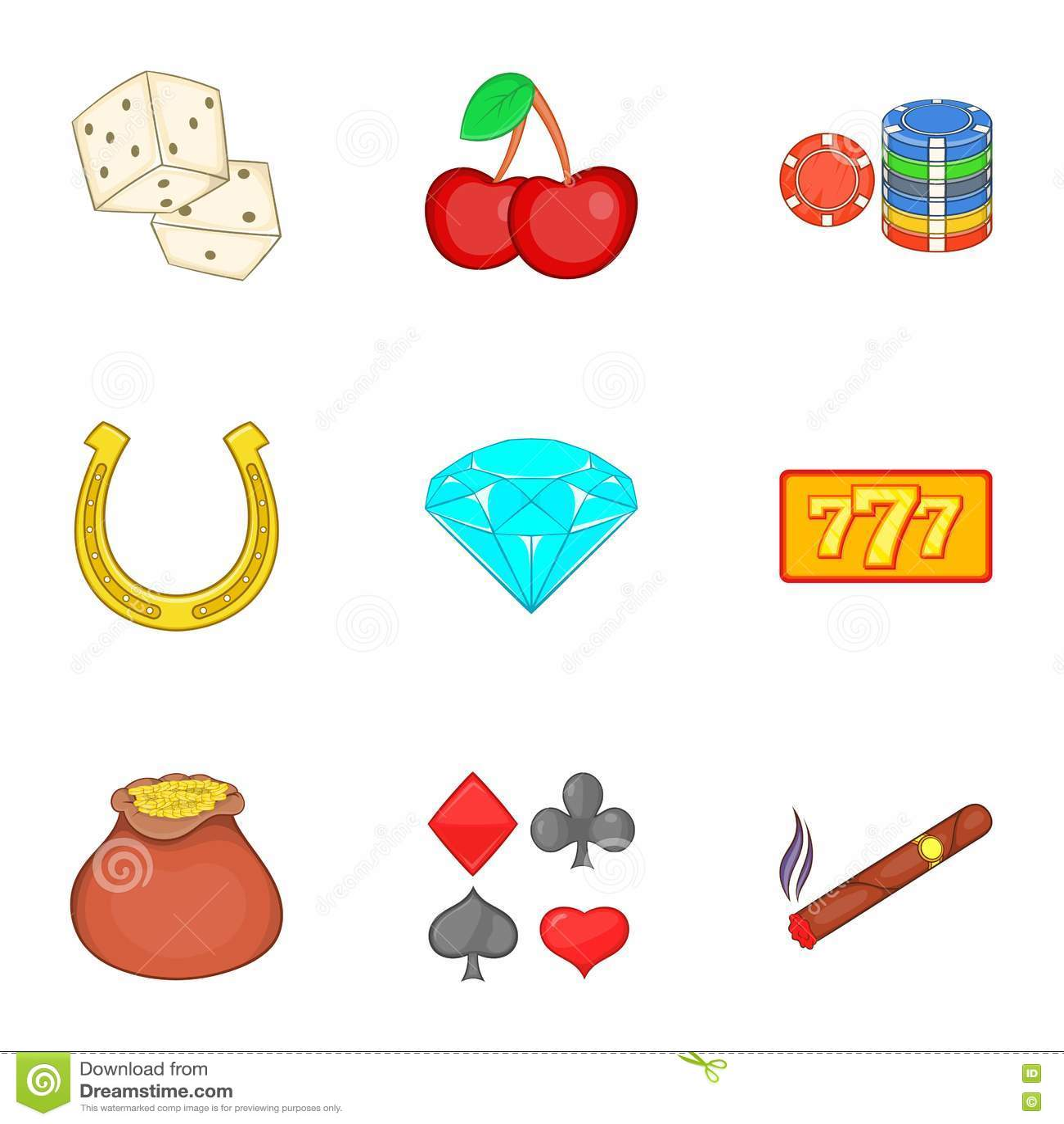 Ícones ajustados, estilo do jogo do casino dos desenhos animados