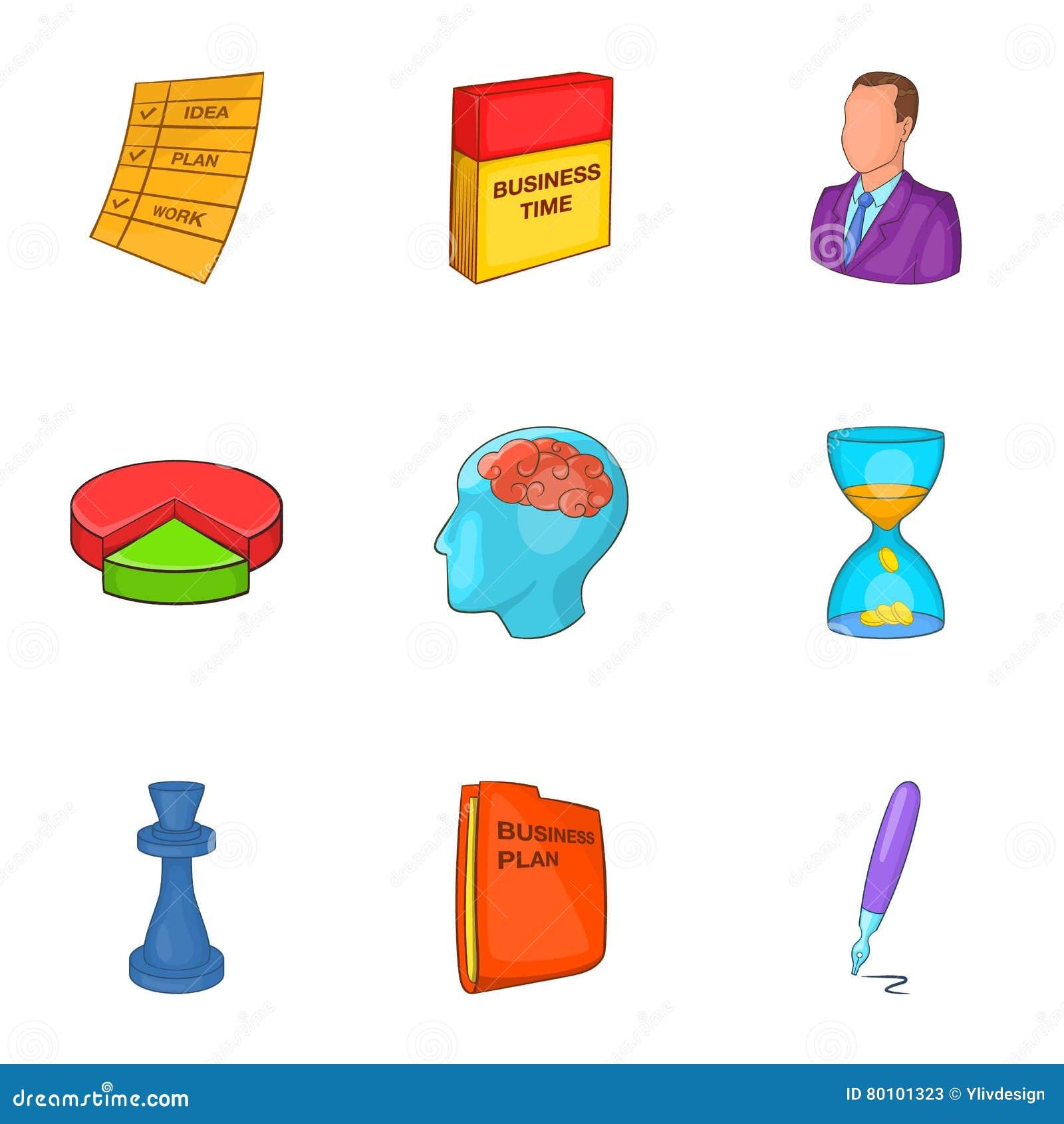 Ícones ajustados, estilo do plano de negócios dos desenhos animados