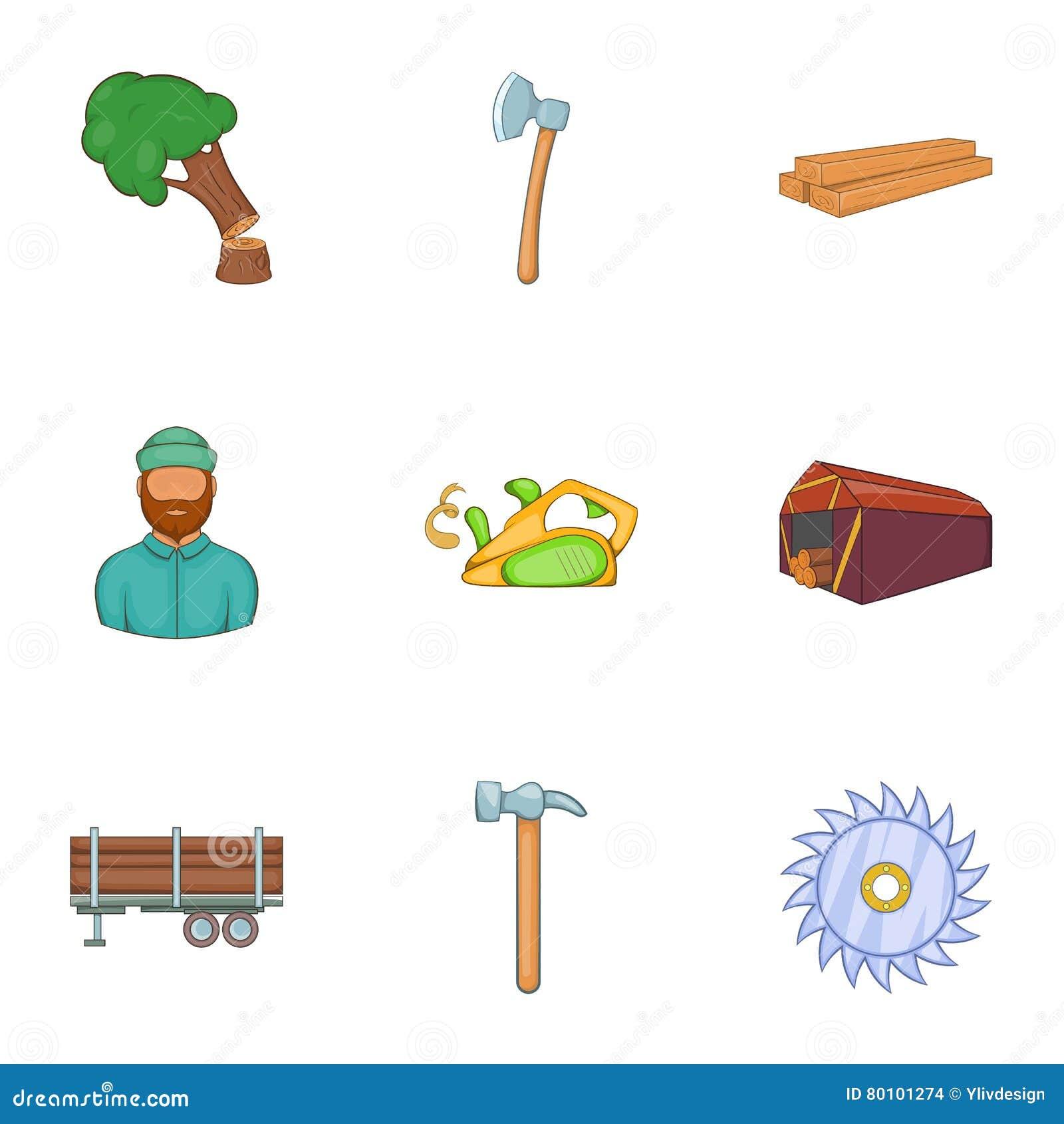 Ícones ajustados, estilo do sawing dos desenhos animados