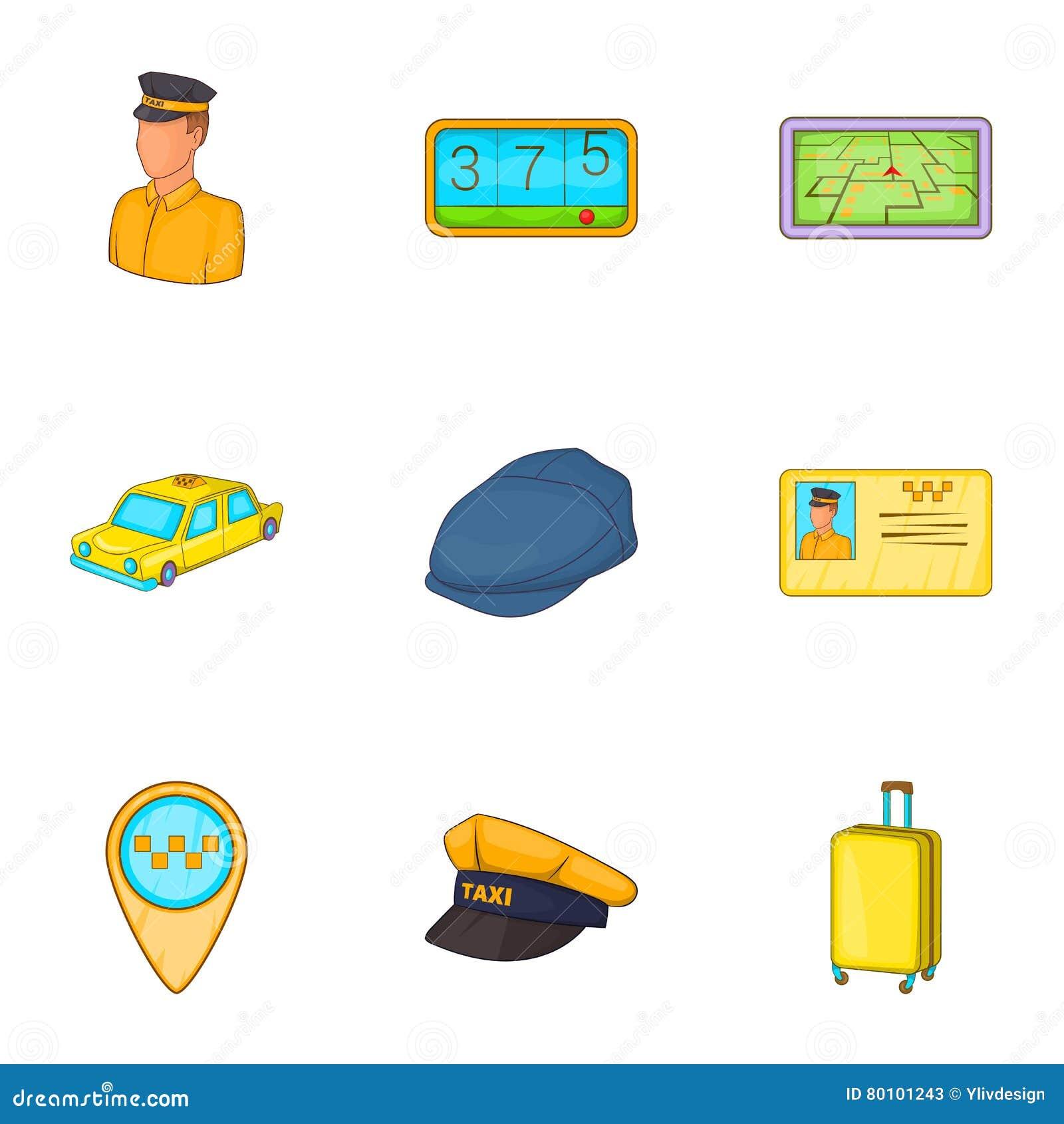 Ícones ajustados, estilo do táxi dos desenhos animados