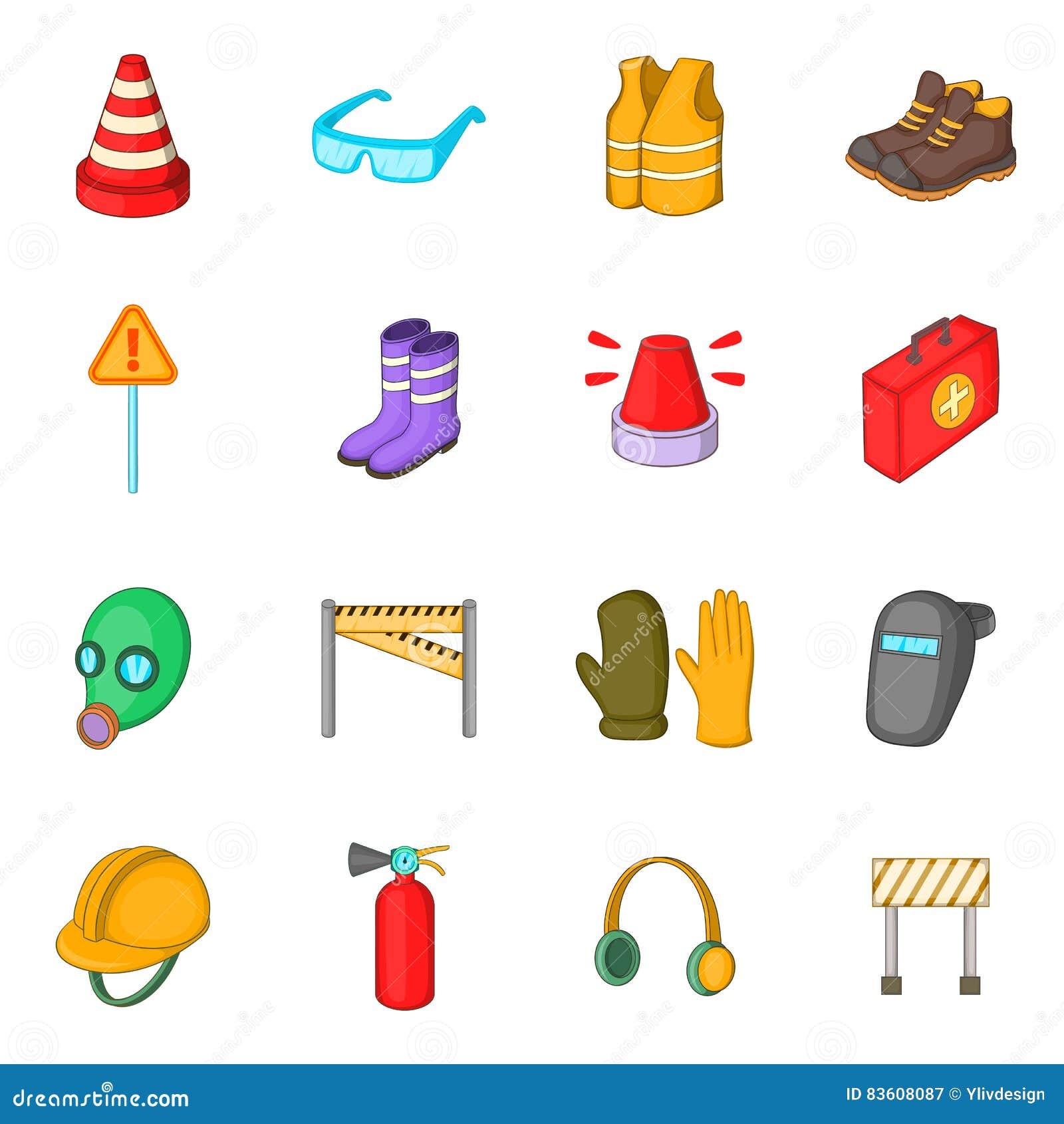 Icones Ajustados Estilo Do Trabalho Da Seguranca Dos Desenhos Animados Ilustracao Do Vetor Ilustracao De Desenhos Animados 83608087