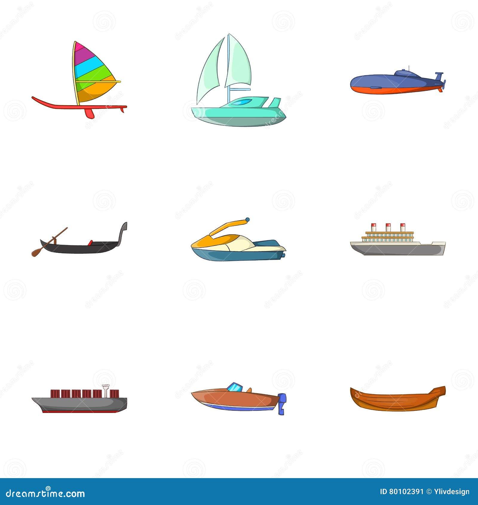 Ícones ajustados, estilo do transporte da água dos desenhos animados