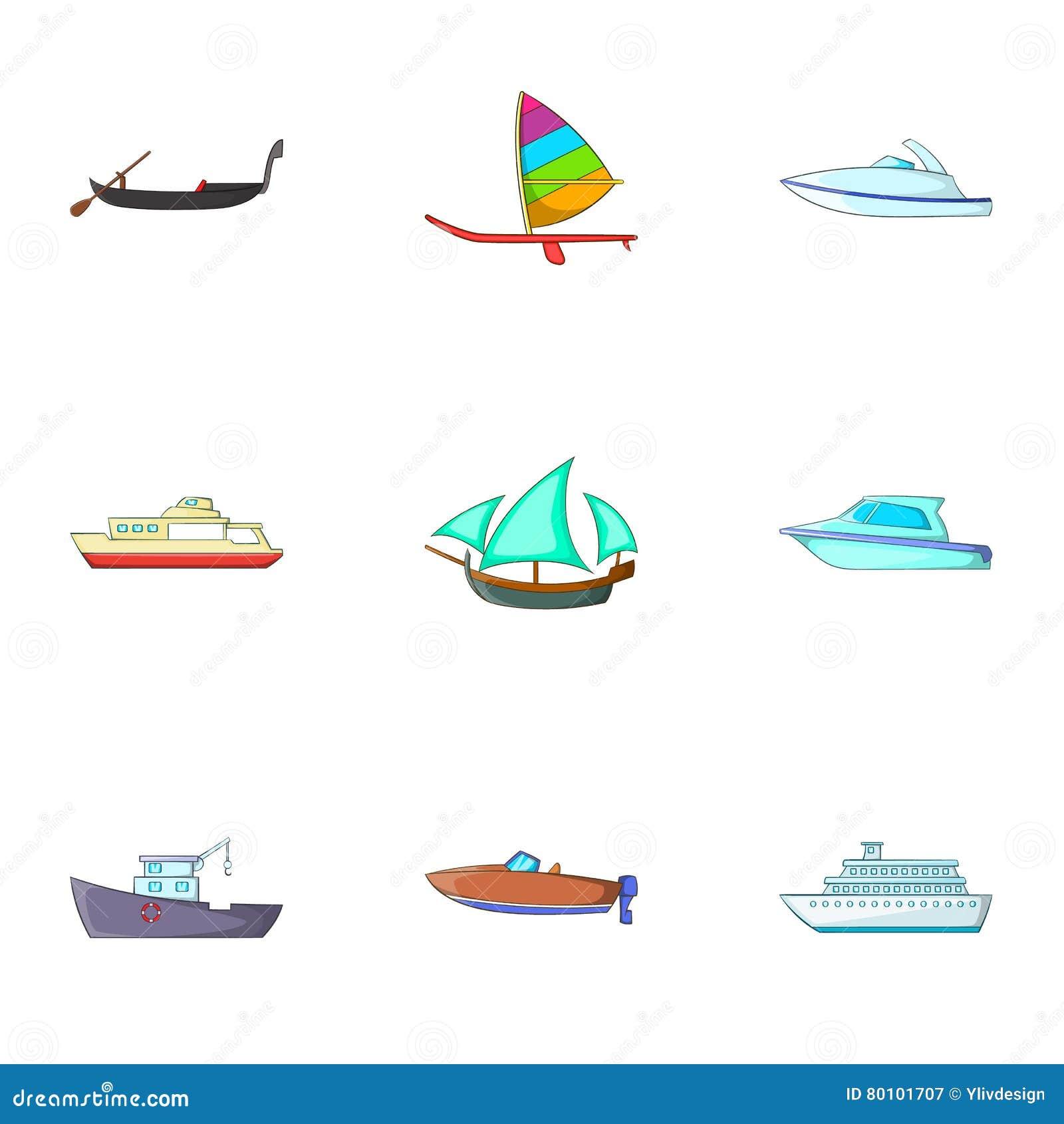 Ícones ajustados, estilo do transporte marítimo dos desenhos animados