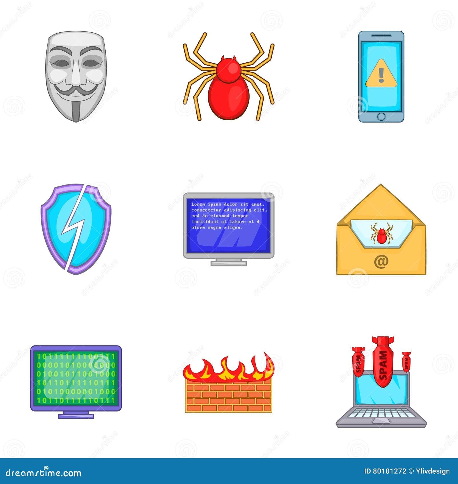 Ícones ajustados, estilo do vírus dos desenhos animados