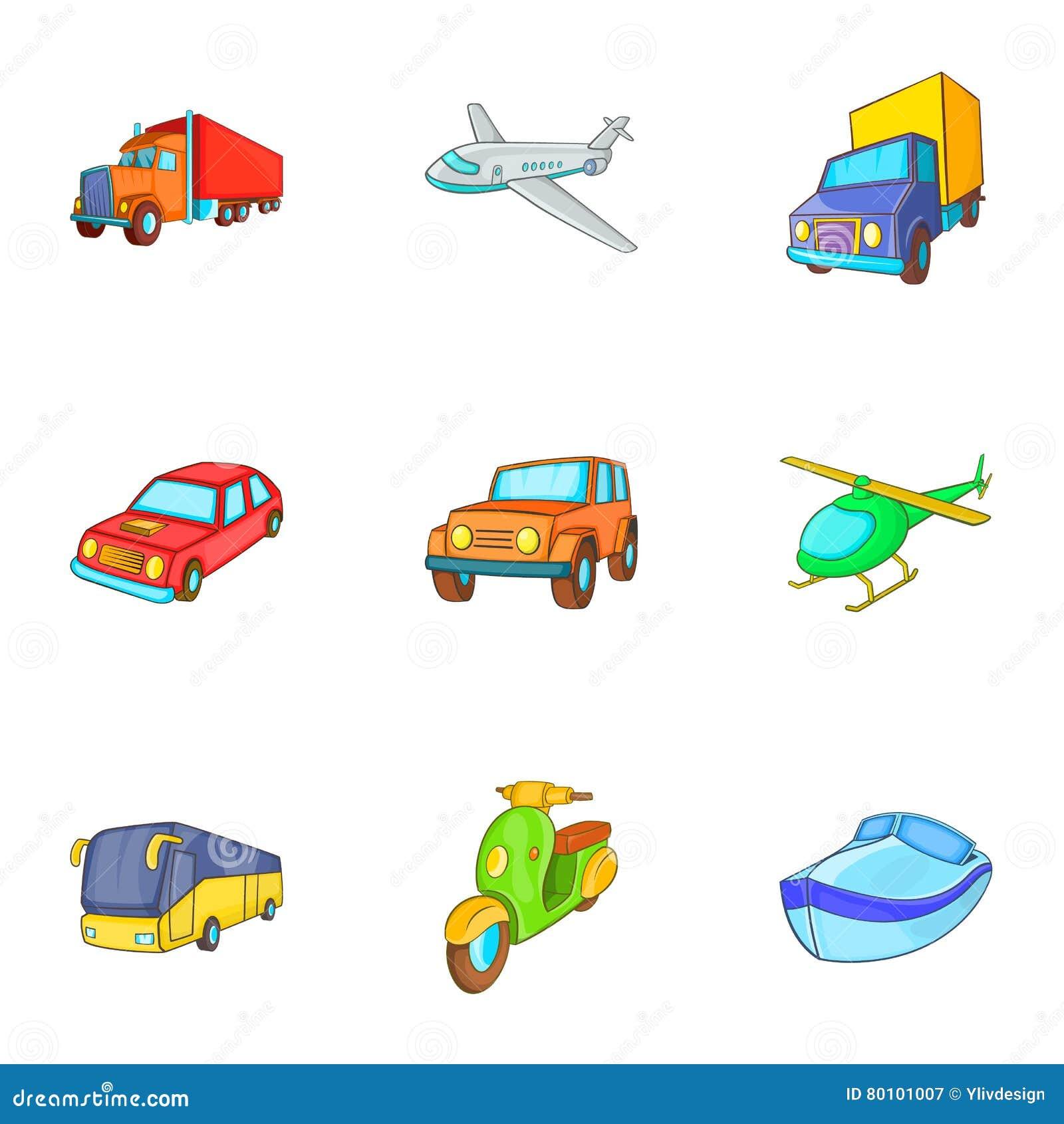 Ícones ajustados, estilo do veículo dos desenhos animados