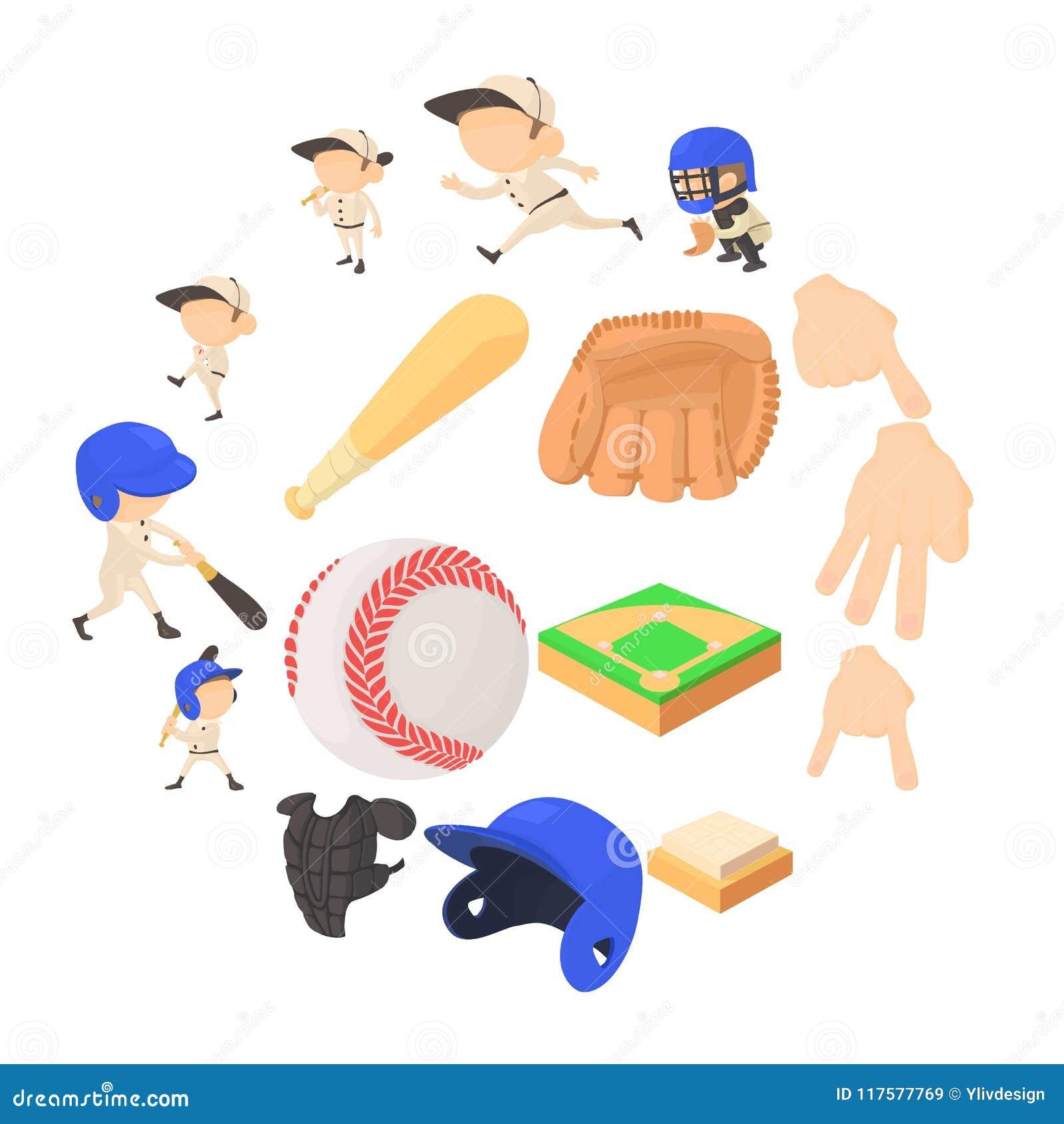 95af13a36 Ícones dos artigos do basebol ajustados A ilustração dos desenhos animados  de 16 artigos do basebol vector ícones para a Web