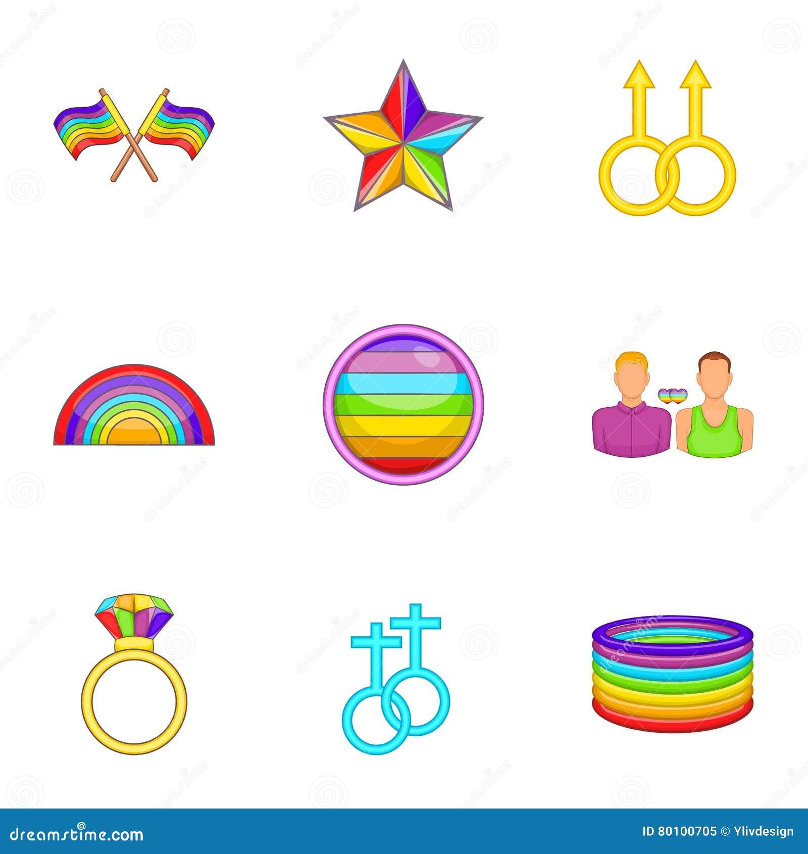 Ícones ajustados, estilo dos gay e lesbiana dos desenhos animados