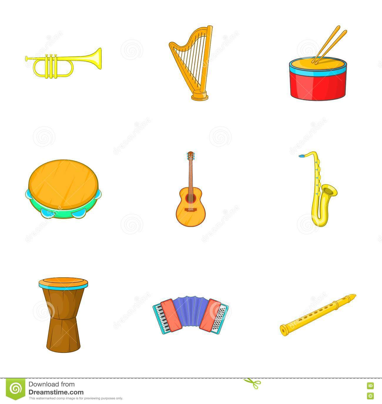 Ícones ajustados, estilo dos instrumentos musicais dos desenhos animados