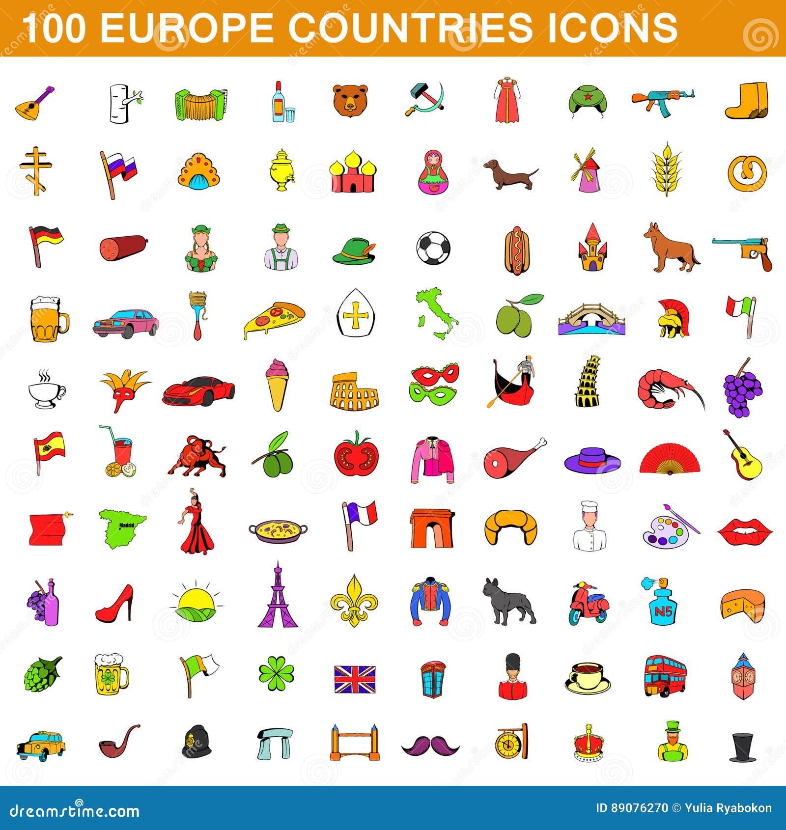 100 ícones ajustados estilo dos países de europa dos desenhos