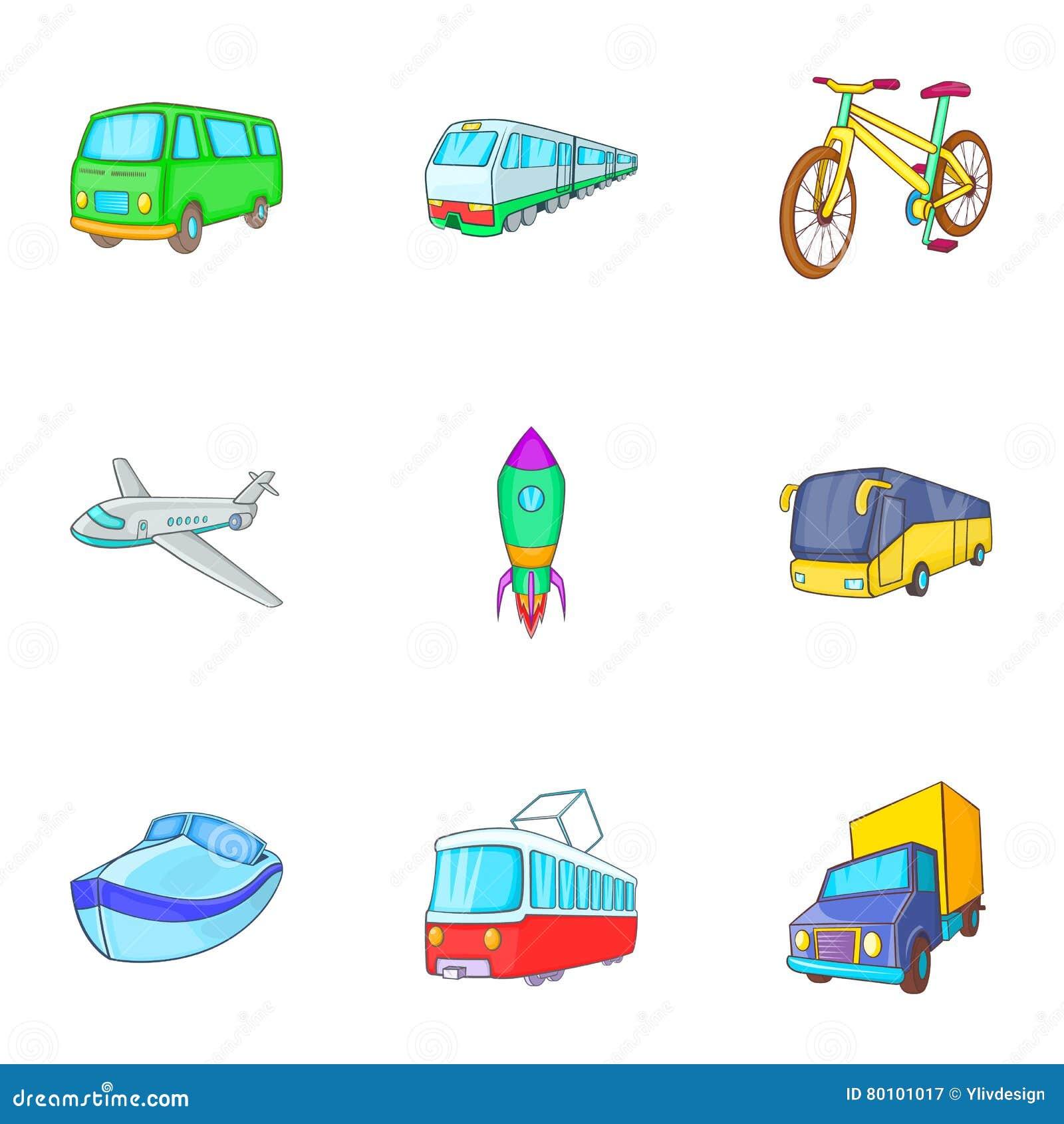 Ícones ajustados, estilo dos serviços do transporte dos desenhos animados