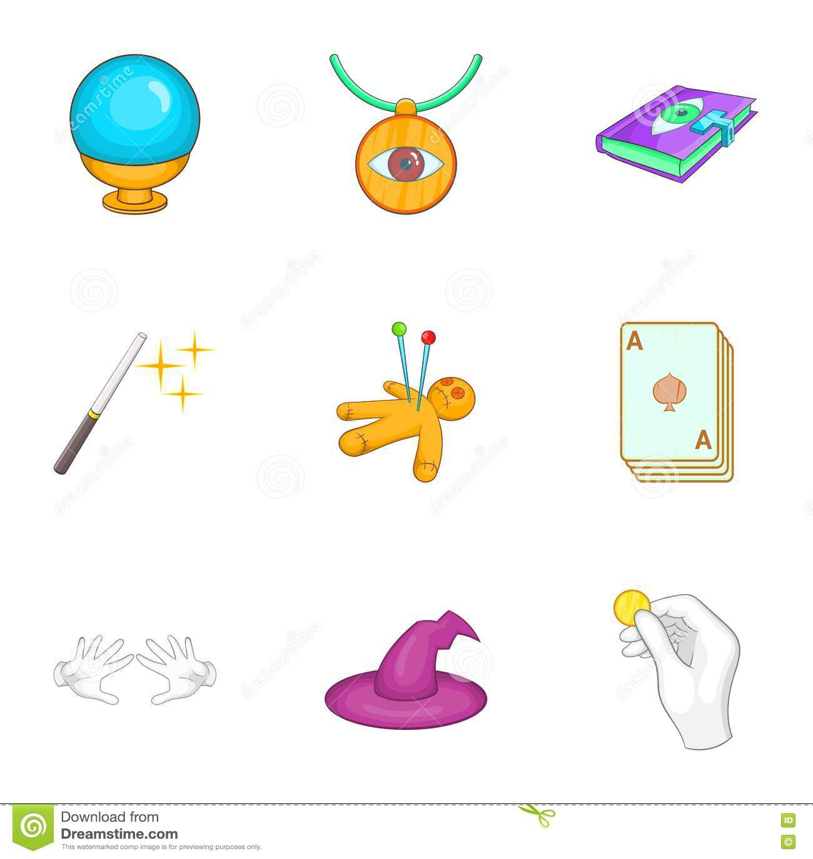 Ícones ajustados, estilo dos truques dos desenhos animados
