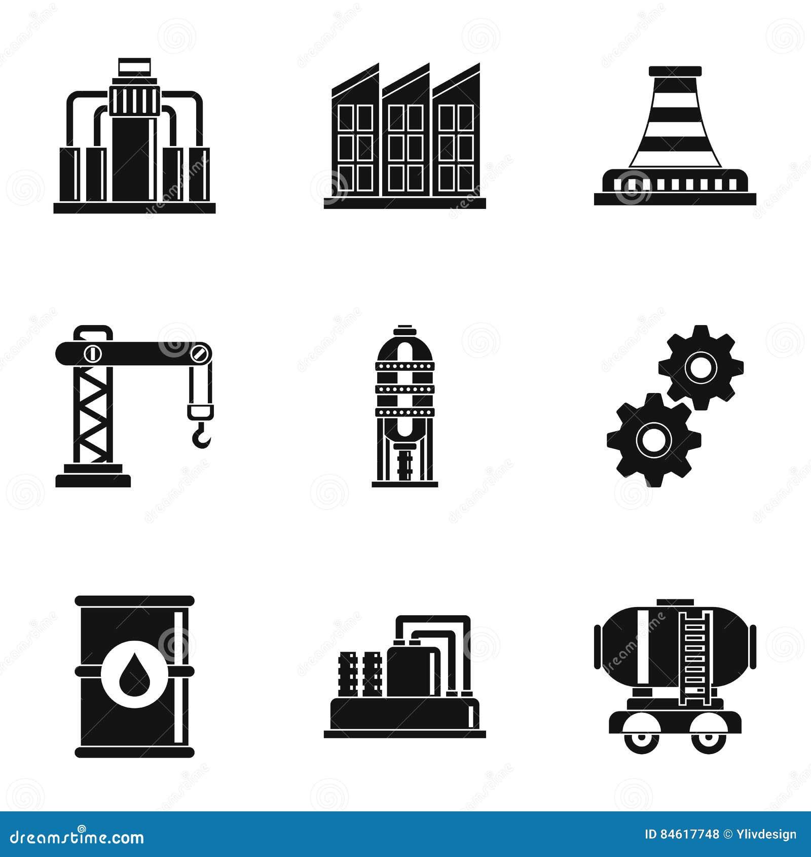 Ícones ajustados, estilo simples da produção de petróleo