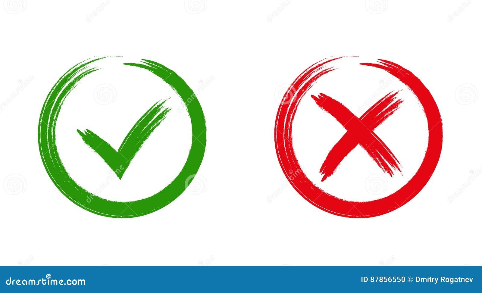 Ícones APROVADOS e vermelhos do sinal verde de X,