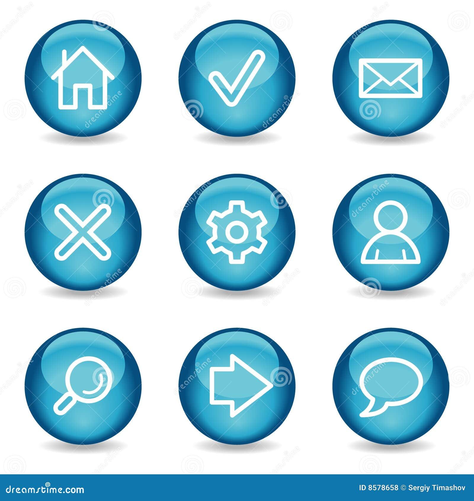 Ícones básicos do Web, série lustrosa azul da esfera