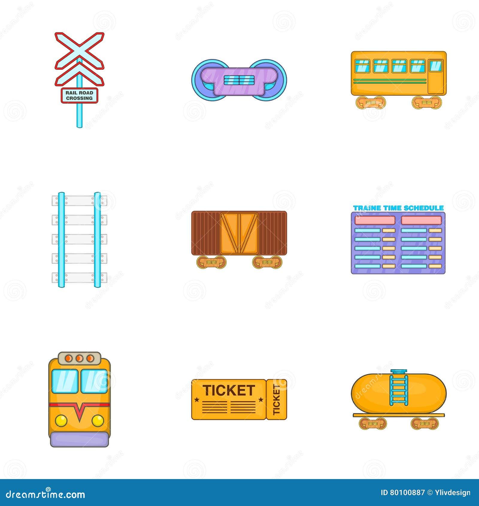 Ícones bondes ajustados, estilo do trem dos desenhos animados