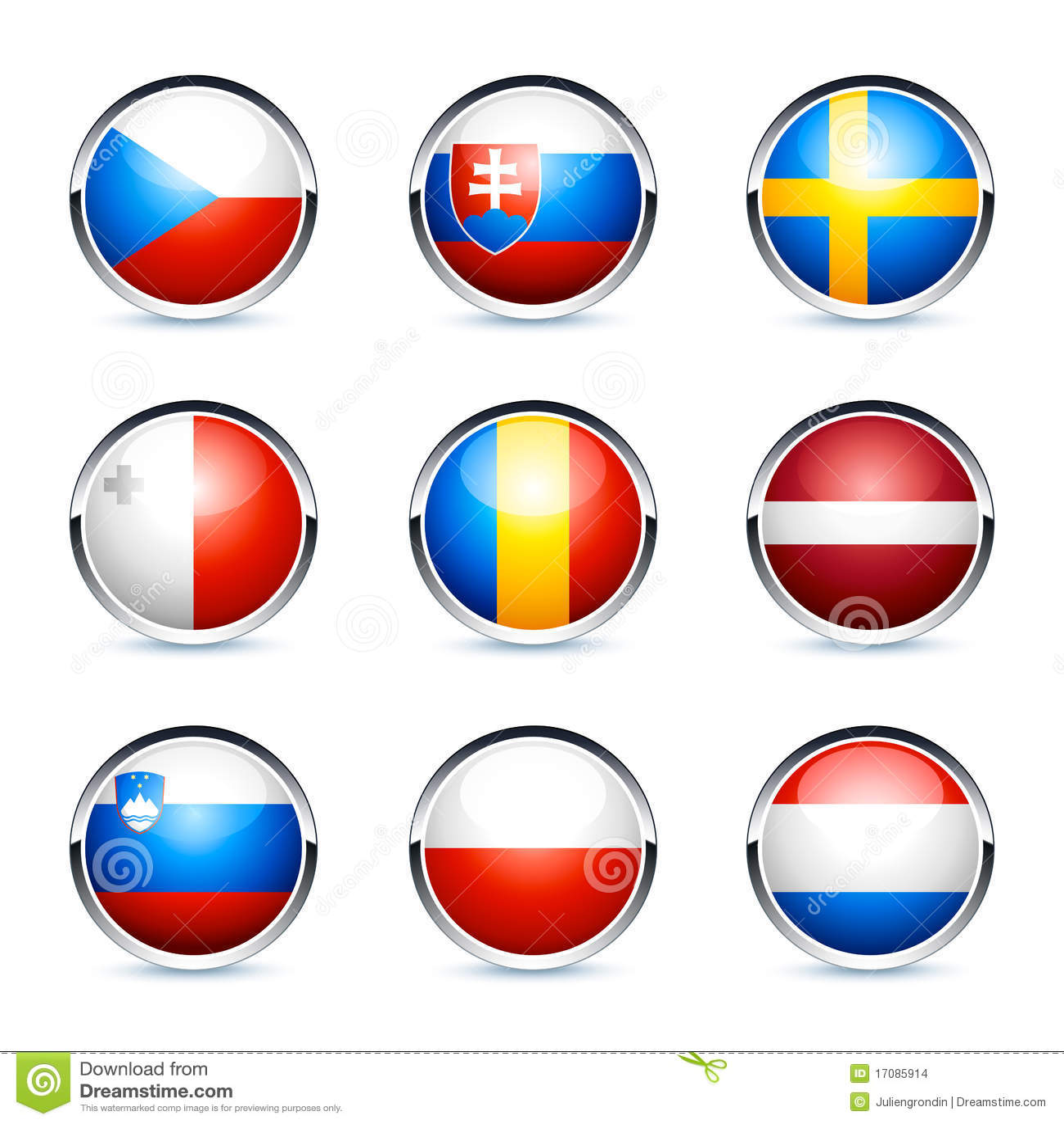 Ícones circulares da bandeira 3D