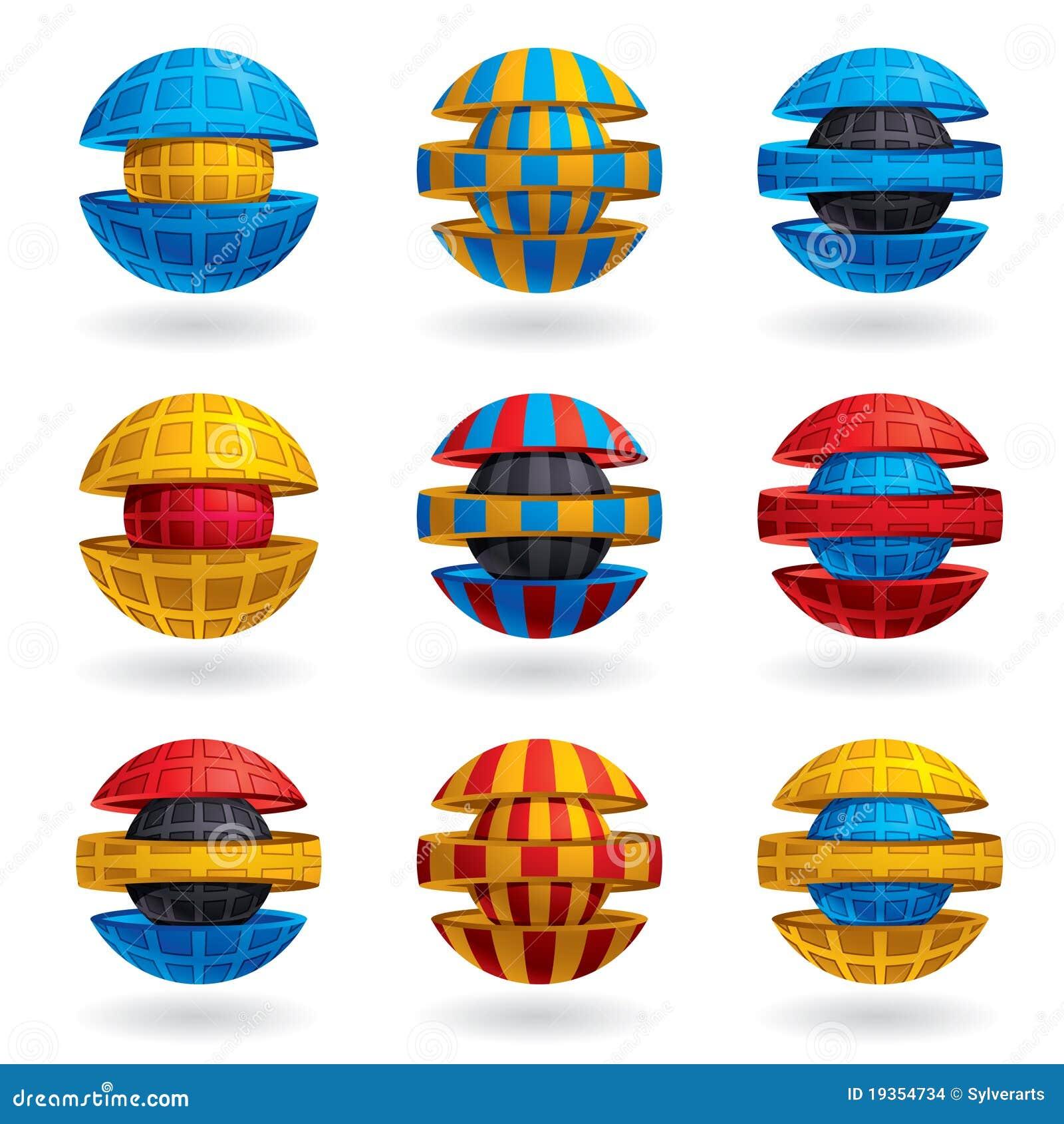 ícones coloridos da esfera 3d ajustados.