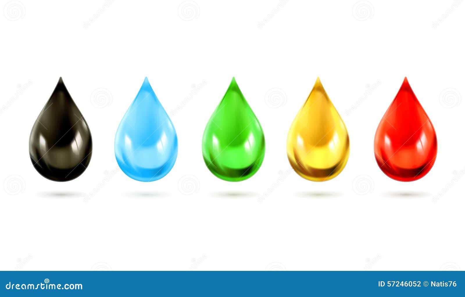 Ícones coloridos do vetor das gotas