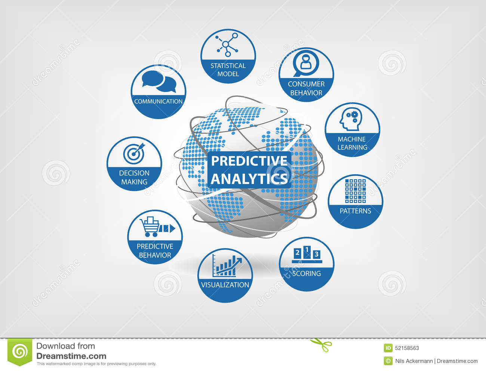 Ícones com caráter de previsão da analítica da Web e dos dados O globo e o mapa do mundo com componentes da analítica gostam do c