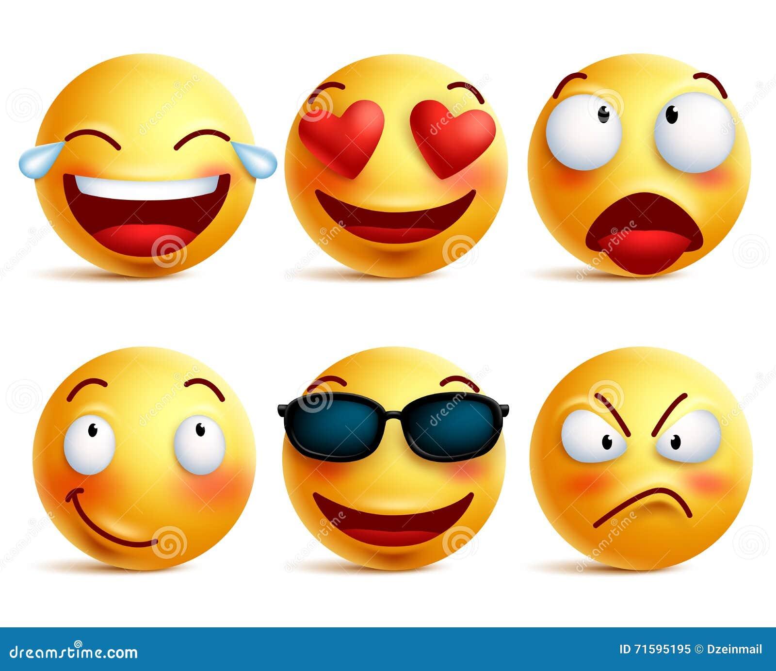 Ícones da cara do smiley ou emoticons amarelos com as caras engraçadas emocionais