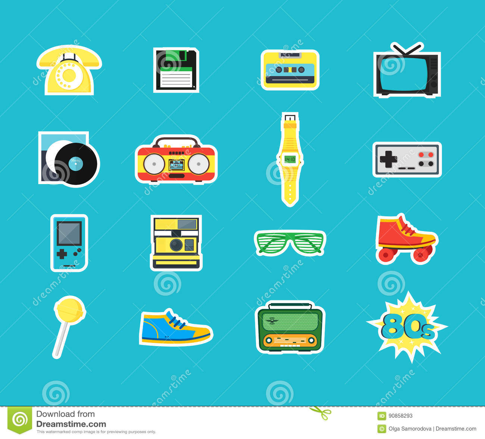ícones Da Cor Do Símbolo Do Estilo Dos Anos 80 Dos Desenhos