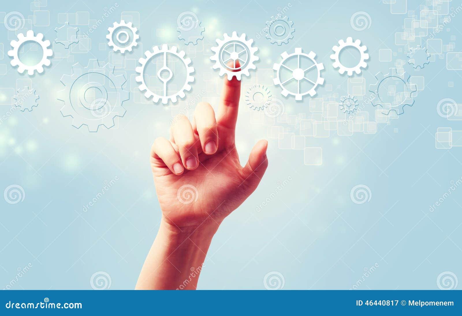 Ícones da engrenagem da pressão de mão