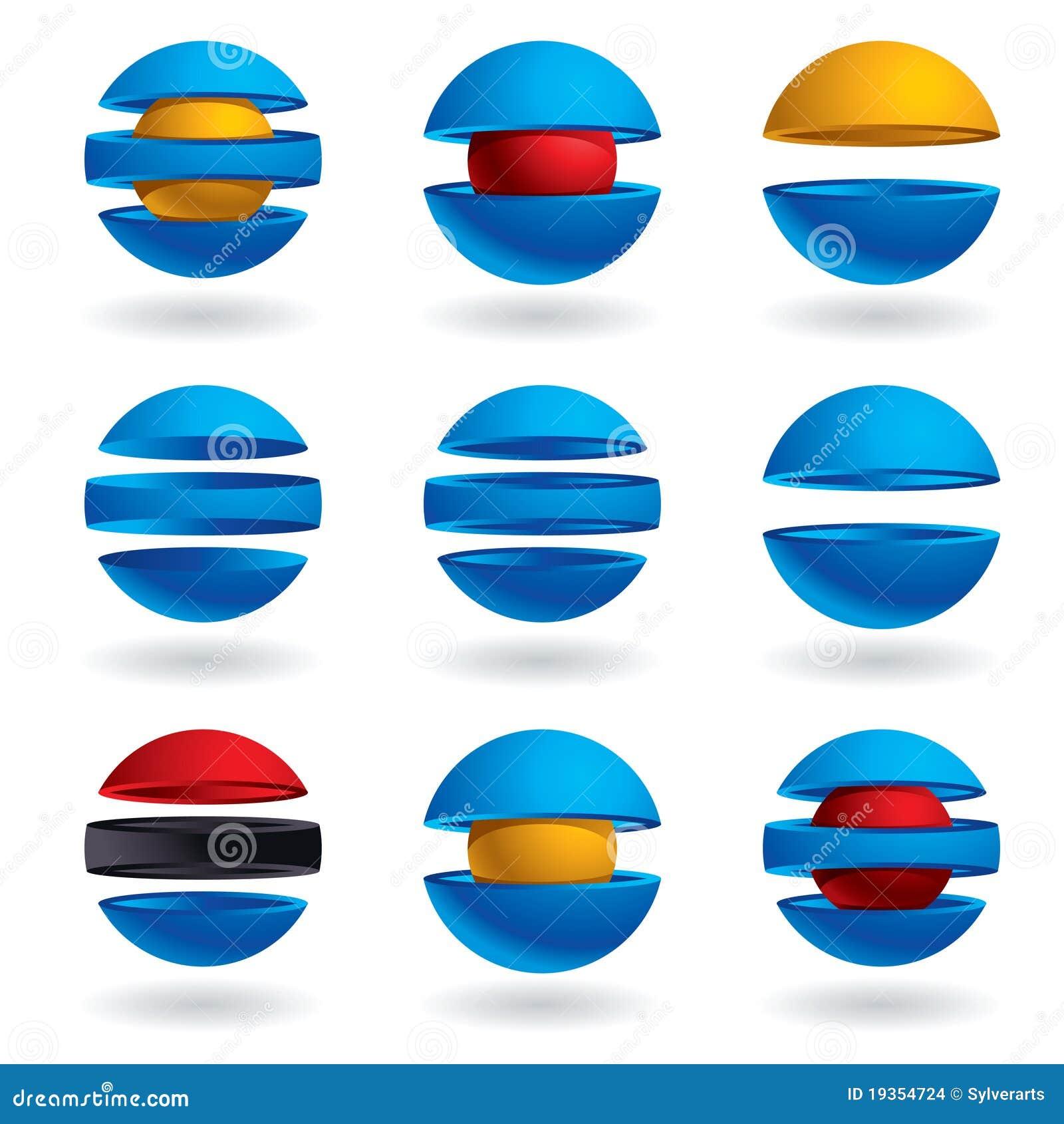ícones da esfera 3d ajustados.
