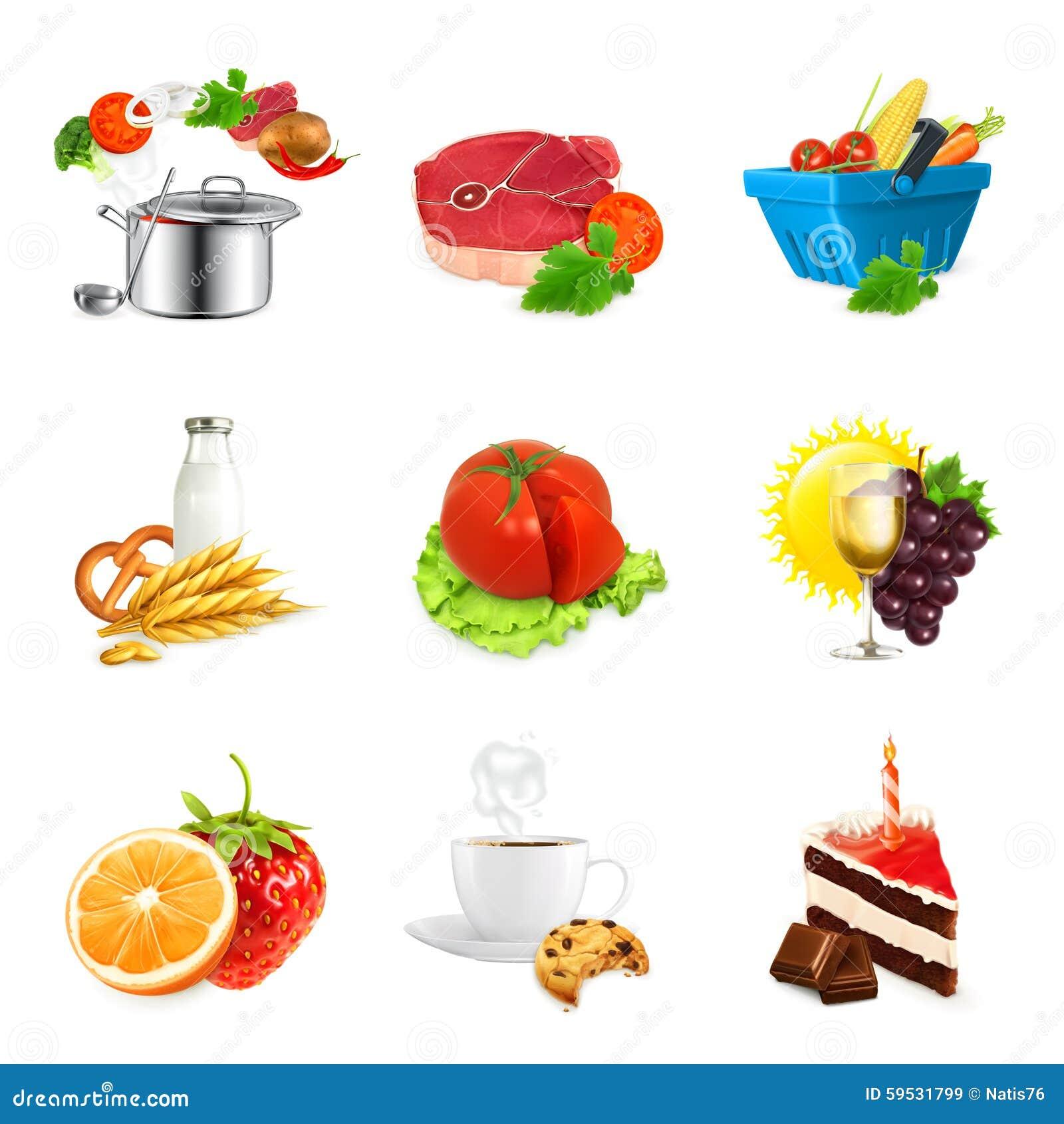Ícones da ilustração do alimento