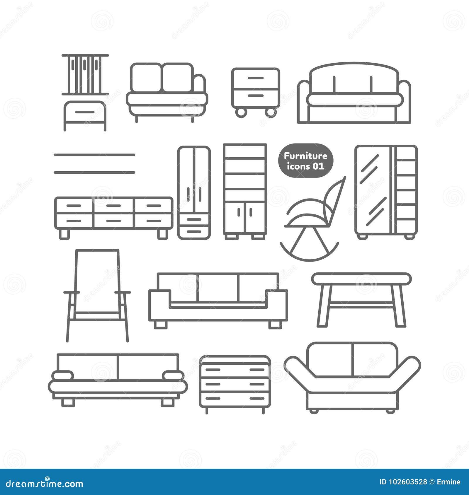 Ícones da mobília do vetor ajustados