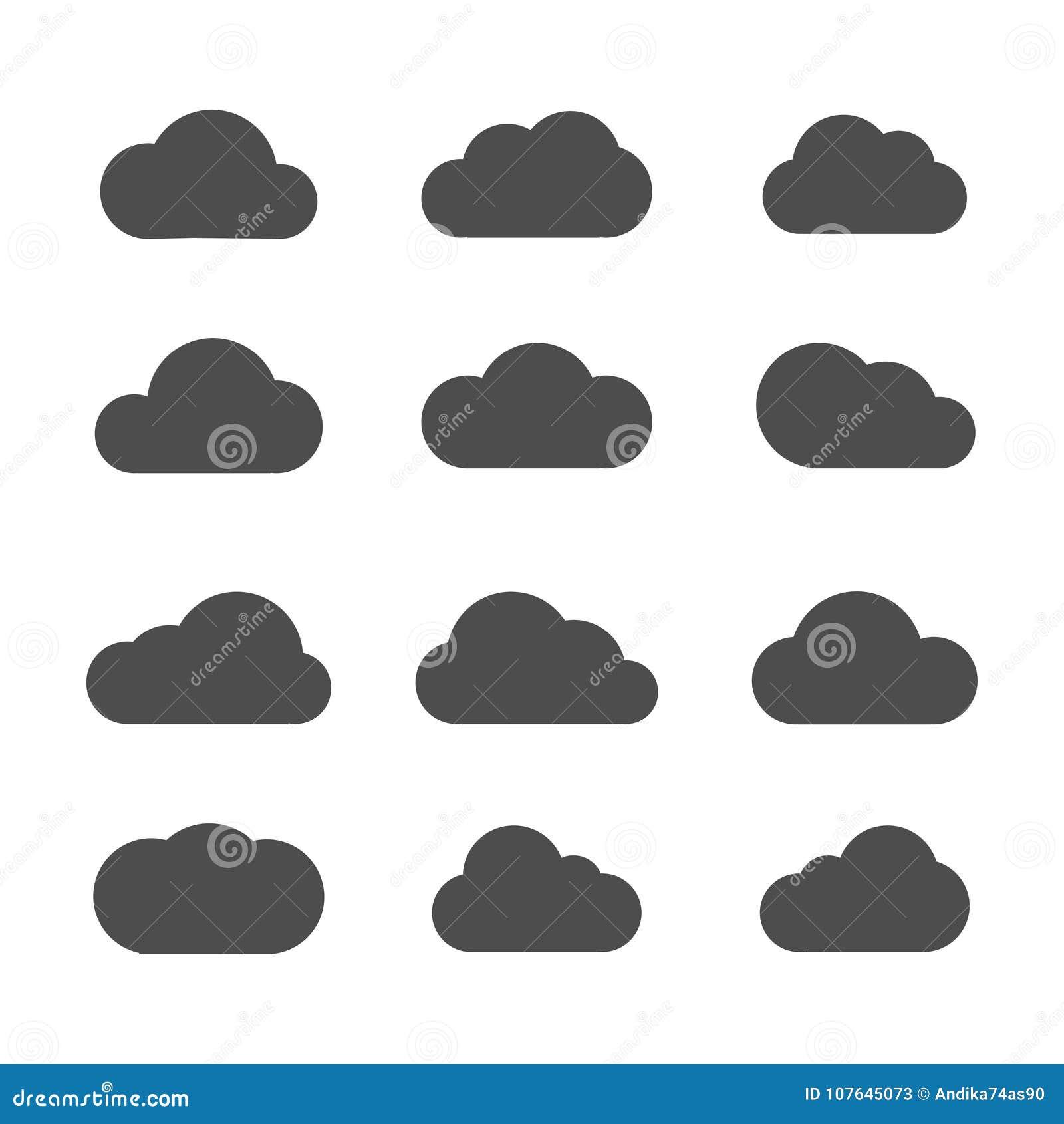 Ícones da nuvem do vetor no fundo branco