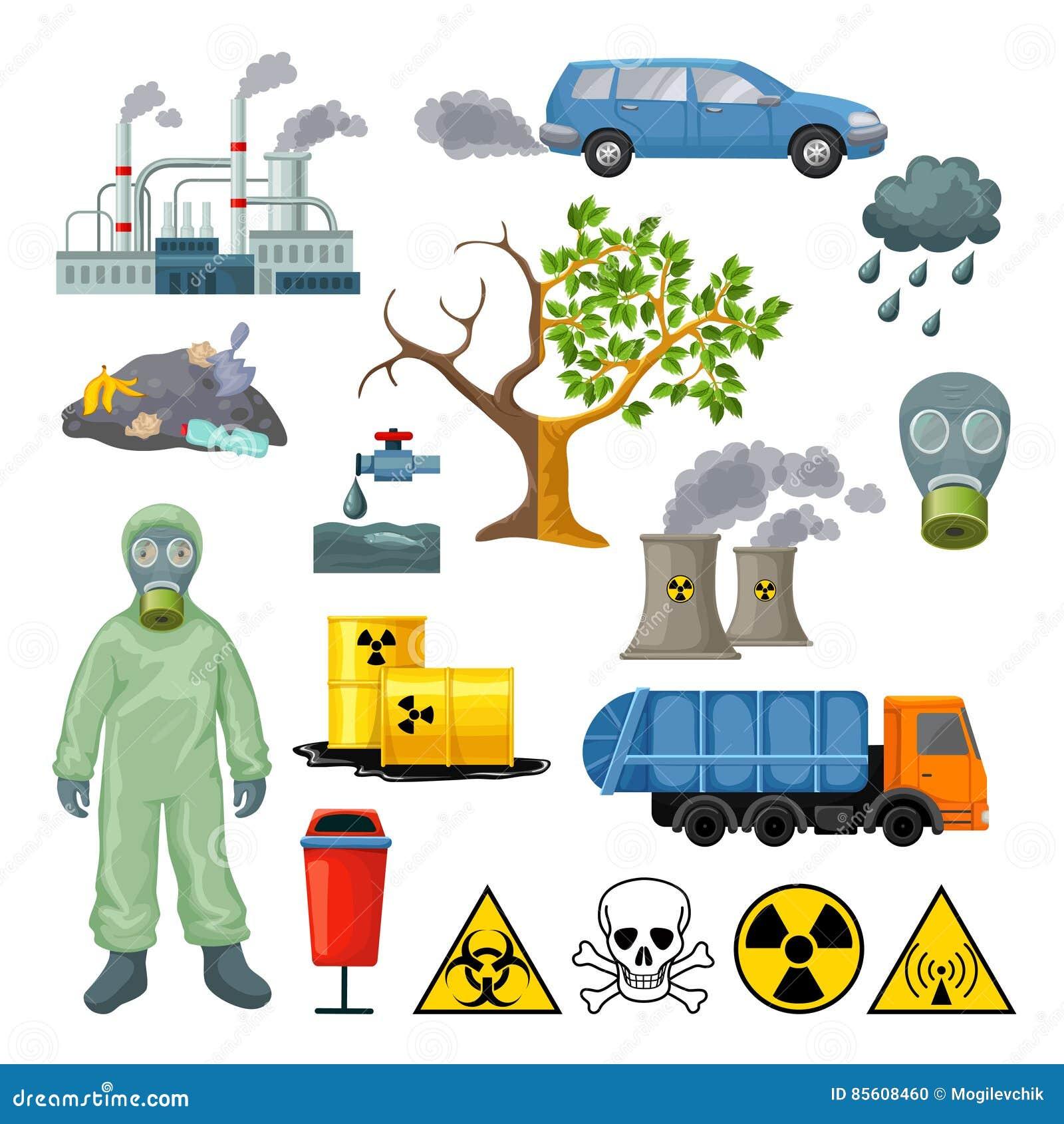 Icones Da Poluicao Ambiental Dos Desenhos Animados Ajustados