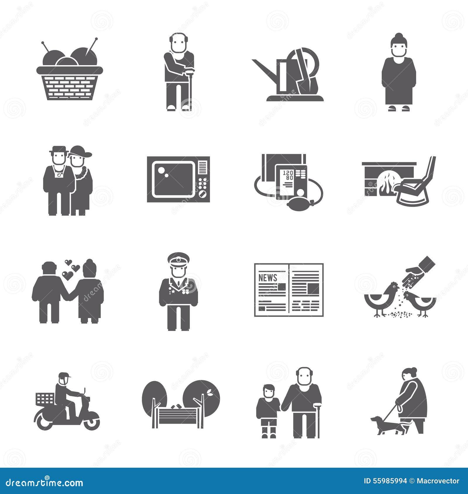 Ícones da vida dos pensionista ajustados