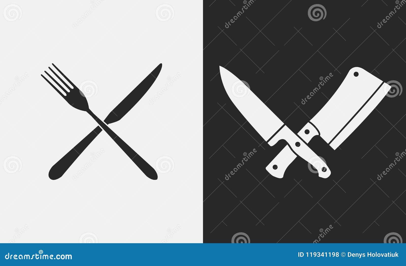 Ícones das facas do restaurante Silhueta da forquilha e da faca, facas de carniceiro Logotipo, emblema